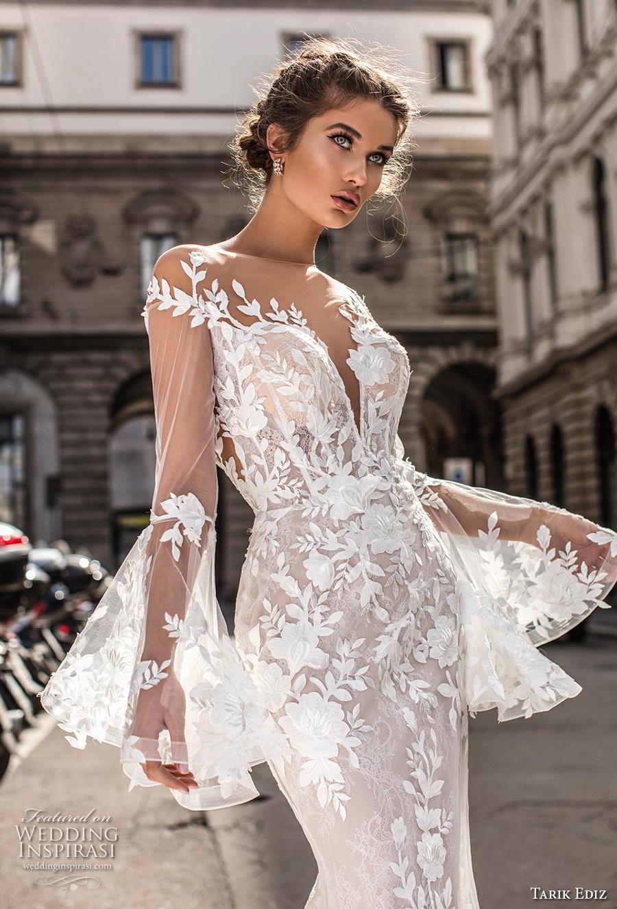 tarik ediz 2019 bridal long lantern sleeves illusion bateau deep sweetheart neckline full embellishment elegant fit and flare wedding dress lace button back sweep back (2) zv