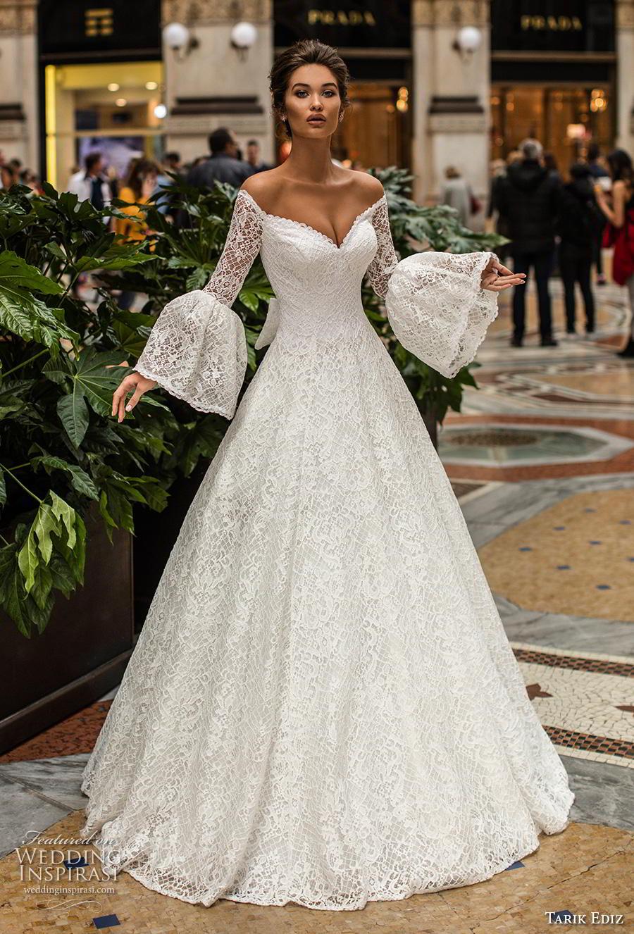 tarik ediz 2019 bridal long lantern sleeves v neck full embellishment romantic a  line wedding dress (21) mv