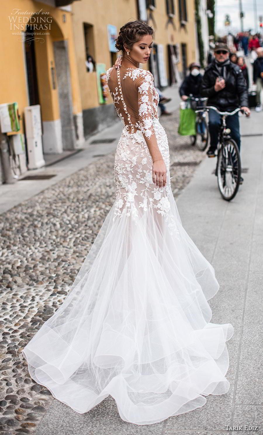tarik ediz 2019 bridal long sleeves illusion bateau neckline heavily embellished bodice elegant trumpet wedding dress sheer button back chapel train (4) bv