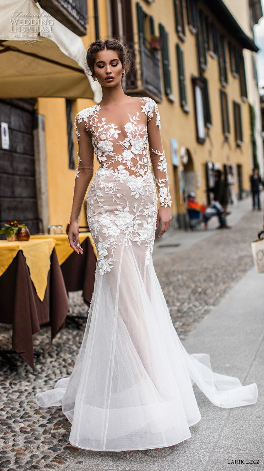 tarik ediz 2019 bridal long sleeves illusion bateau neckline heavily embellished bodice elegant trumpet wedding dress sheer button back chapel train (4) mv