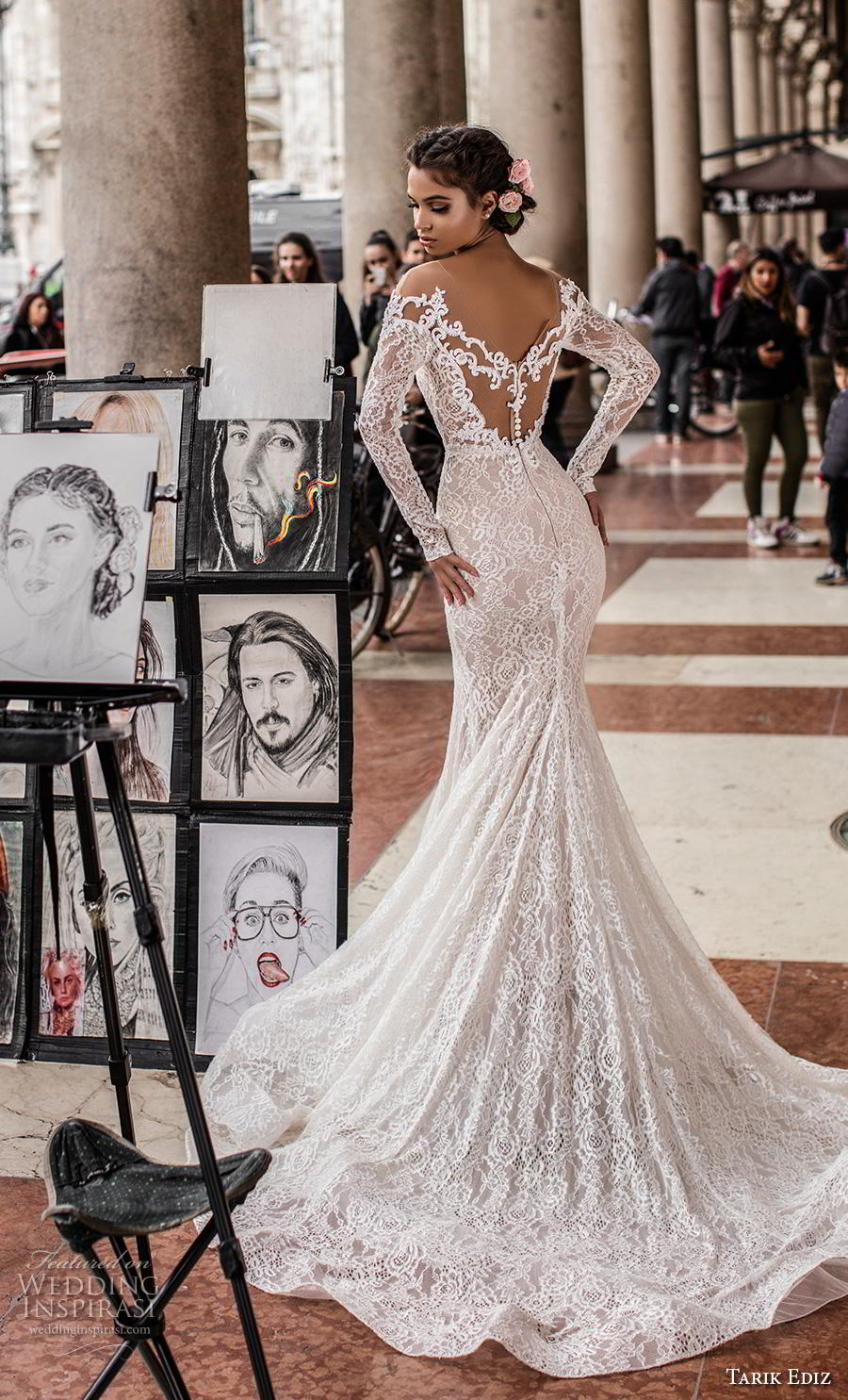 tarik ediz 2019 bridal long sleeves illusion bateau v neck full embellishment elegant fit and flare wedding dress mid lace back chapel train (8) bv