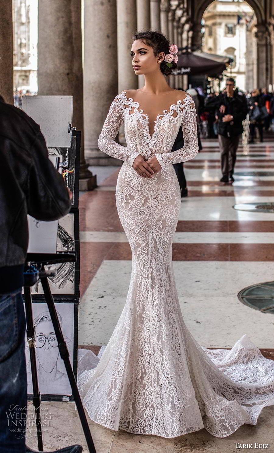 tarik ediz 2019 bridal long sleeves illusion bateau v neck full embellishment elegant fit and flare wedding dress mid lace back chapel train (8) mv
