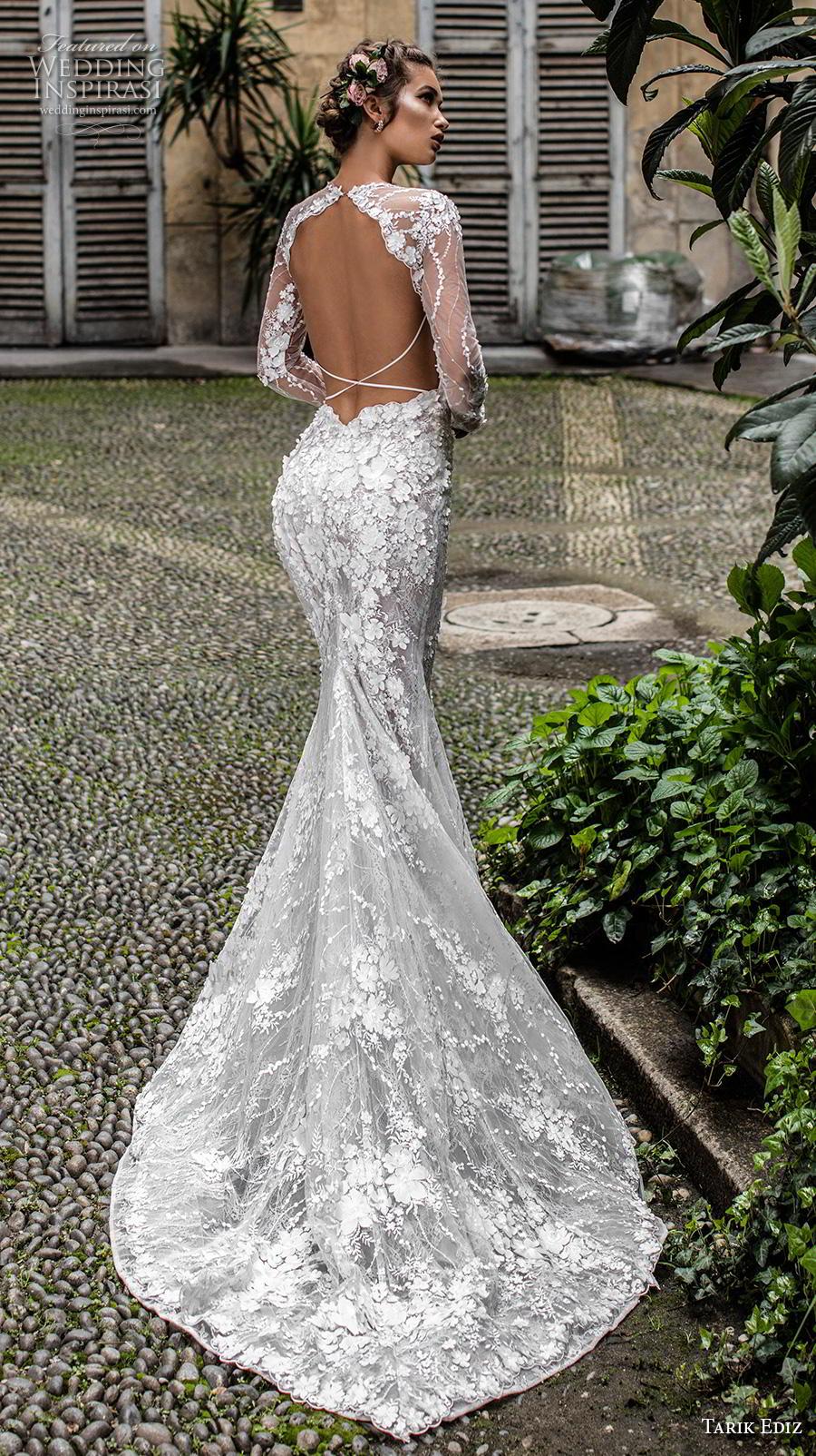 tarik ediz 2019 bridal long sleeves illusion jewel sweetheart neckline full embellishment elegant fit and flare wedding dress low keyhole back chapel train (15) bv