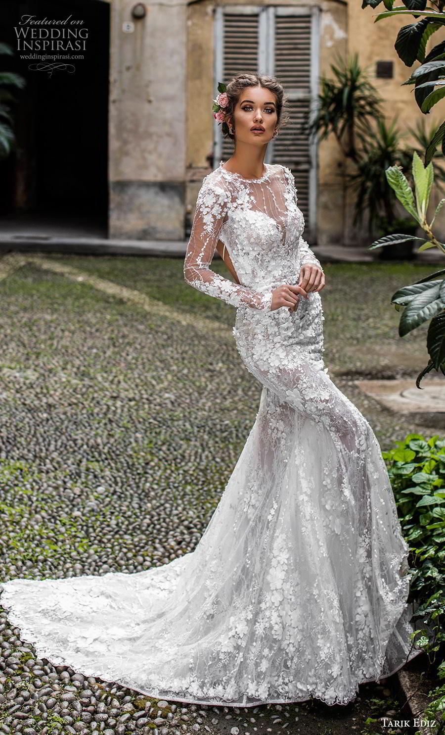 tarik ediz 2019 bridal long sleeves illusion jewel sweetheart neckline full embellishment elegant fit and flare wedding dress low keyhole back chapel train (15) mv