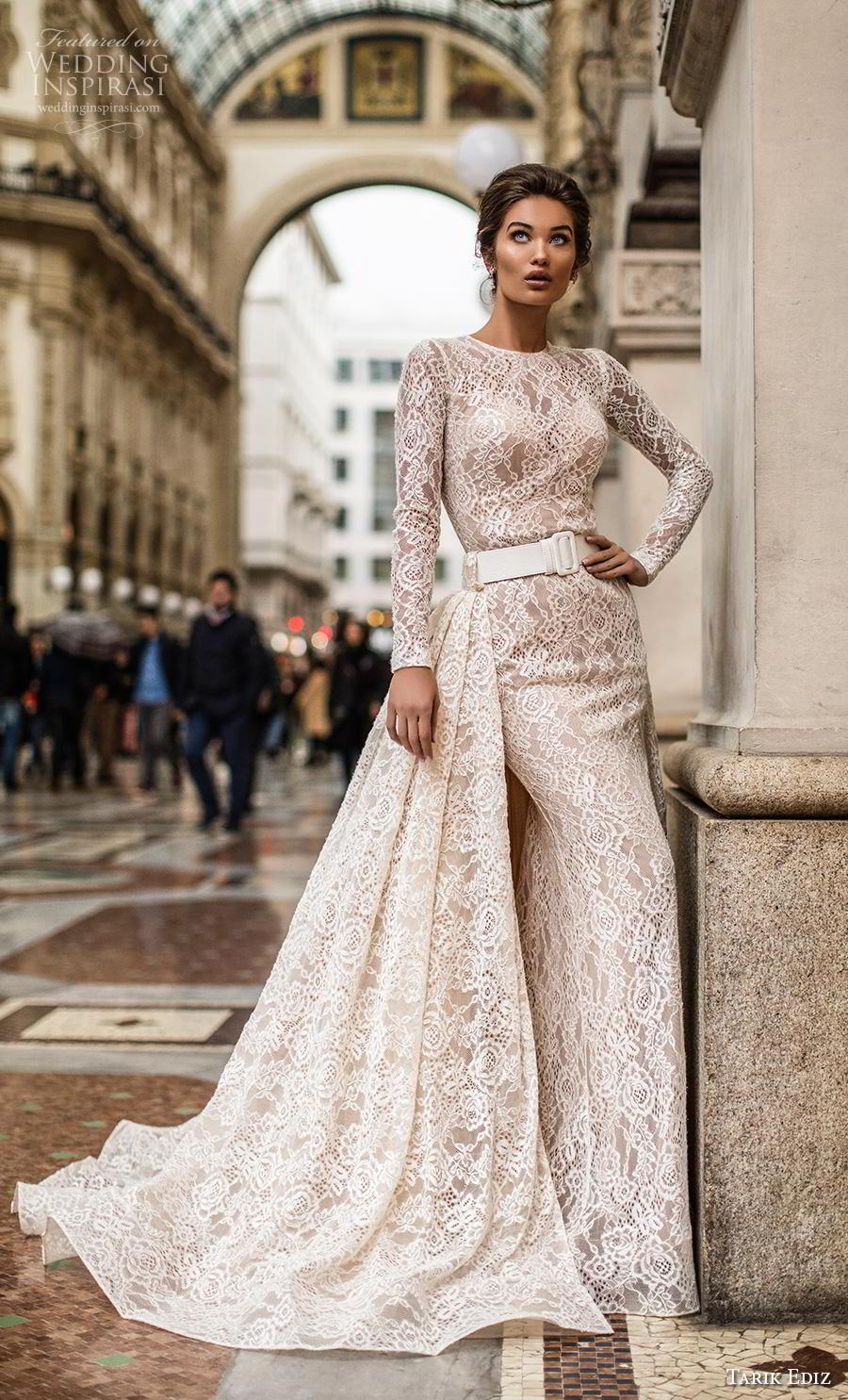 tarik ediz 2019 bridal long sleeves jewel neckline full embellishment elegant modest classy sheath wedding dress a  line overskirt covered back chapel train (5) mv