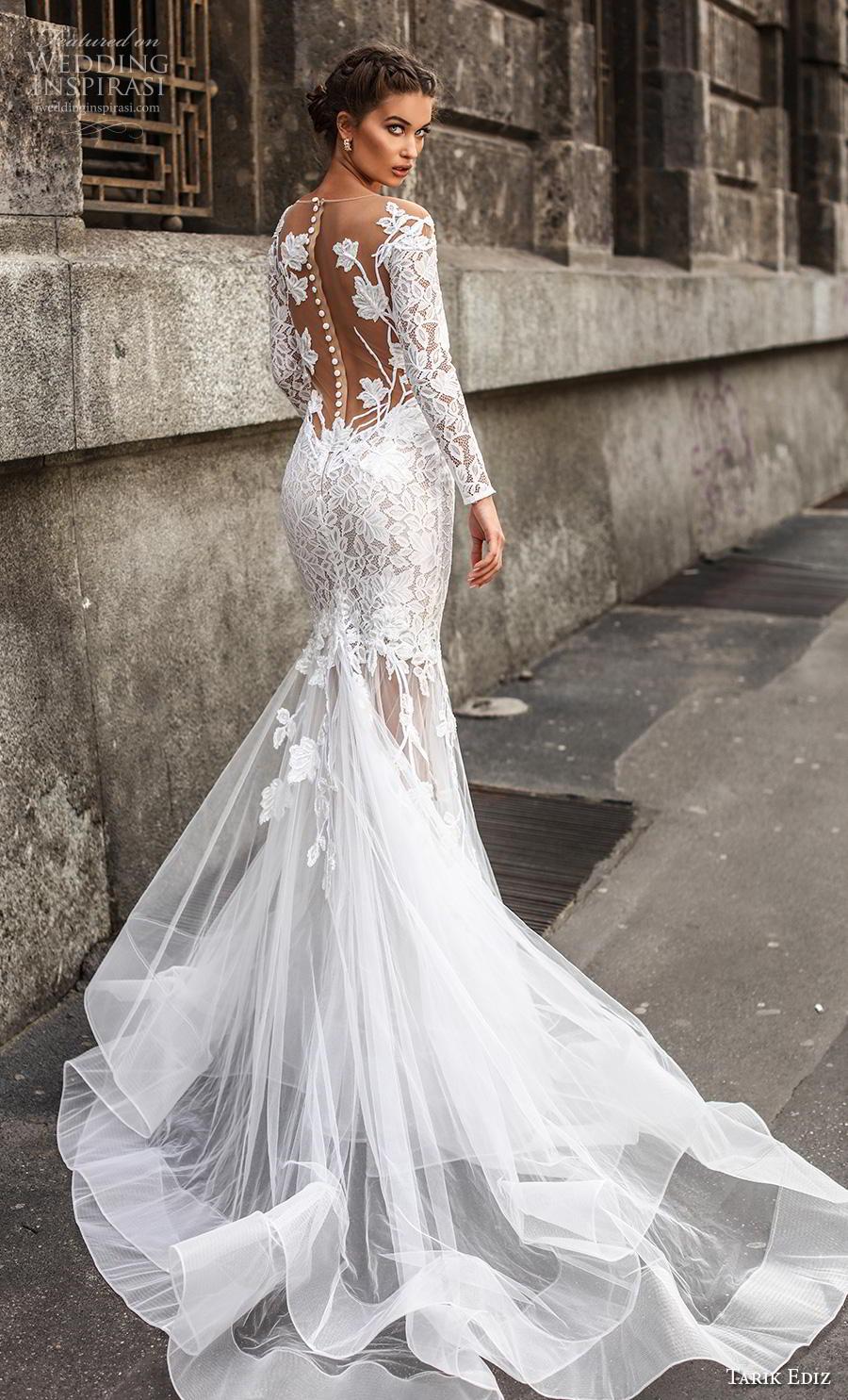 tarik ediz 2019 bridal long sleeves sheer bateau deep sweetheart neckline heavily embellished bodice elegant mermaid wedding dress lace button back chapel train (20) bv