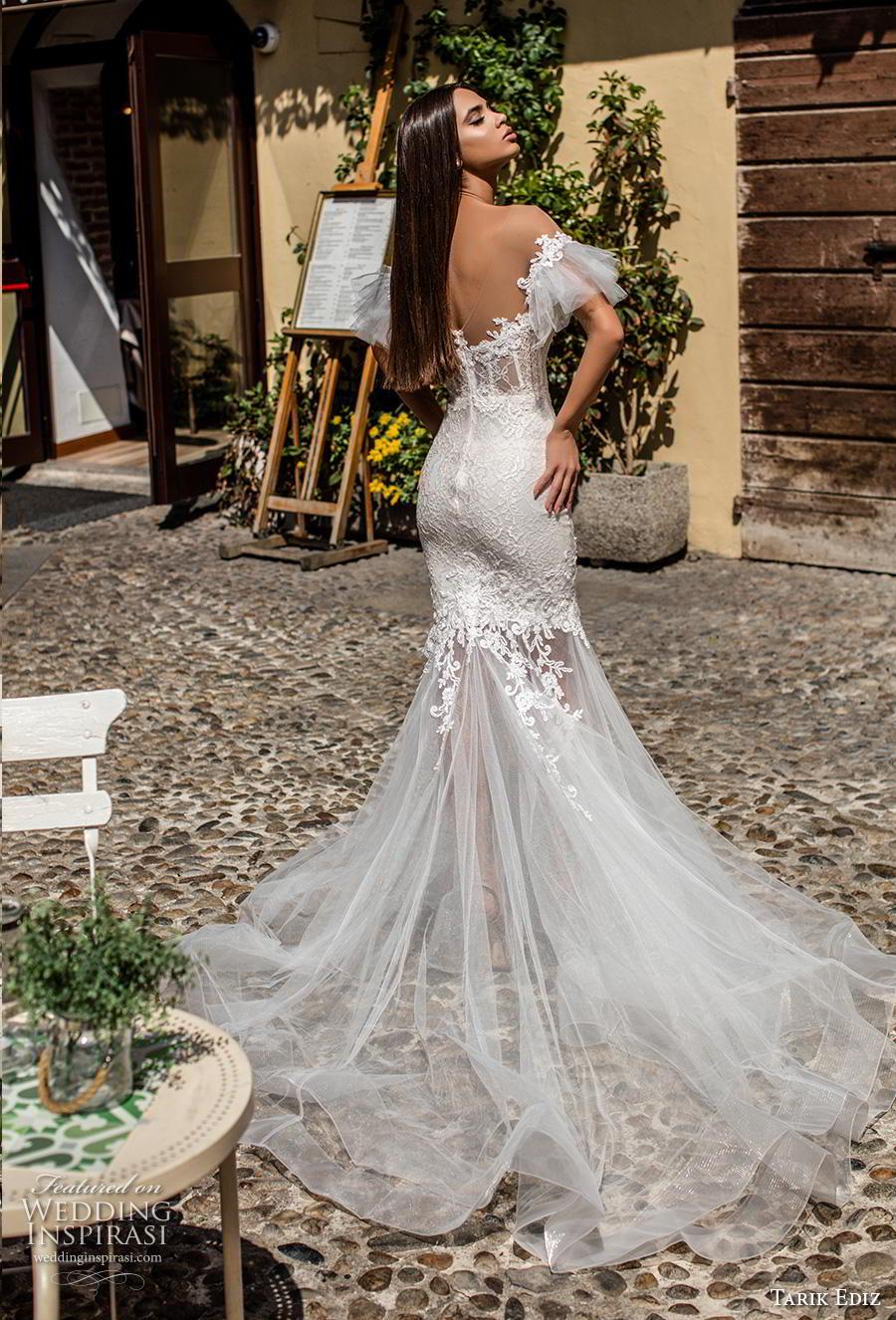tarik ediz 2019 bridal off the shoulder tiered sleeves sweetheart neckline heavily embellished bodice romantic mermaid wedding dress backless chapel train (18) bv