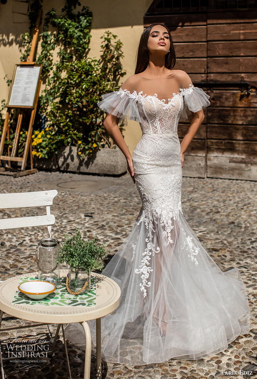 tarik ediz 2019 bridal off the shoulder tiered sleeves sweetheart neckline heavily embellished bodice romantic mermaid wedding dress backless chapel train (18) mv