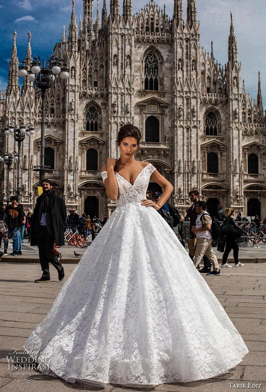 tarik ediz 2019 bridal off the shoulder v neck full embellishment romantic princess ball gown a  line wedding dress (22) mv