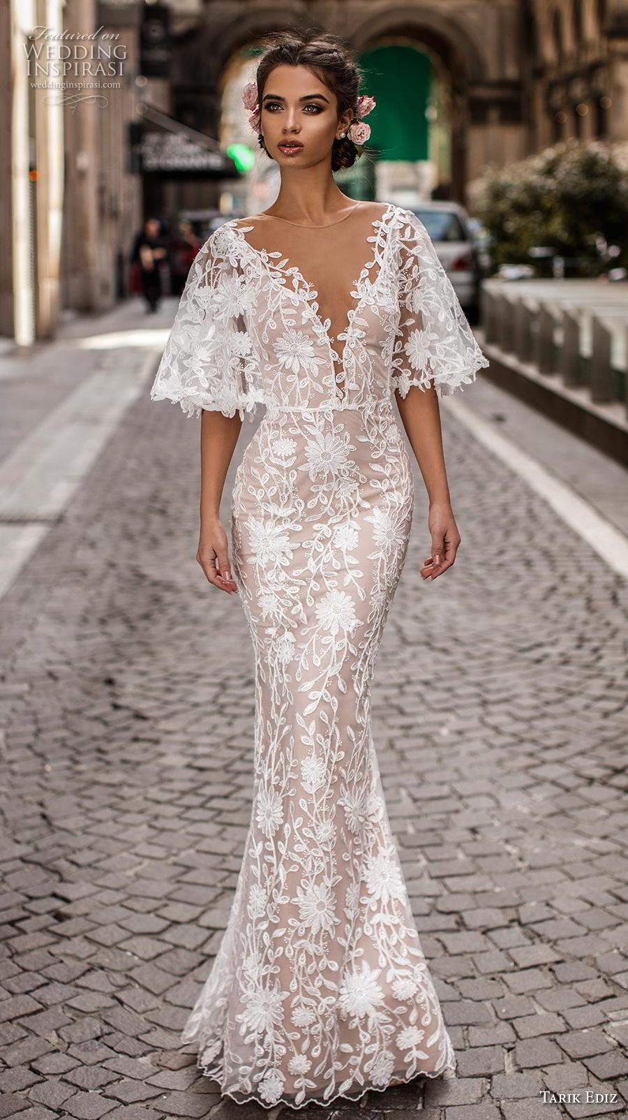 tarik ediz 2019 bridal short bell sleeves illusion jewel deep plunging v neck romantic fit and flare sheath wedding dress sweep train (7) mv