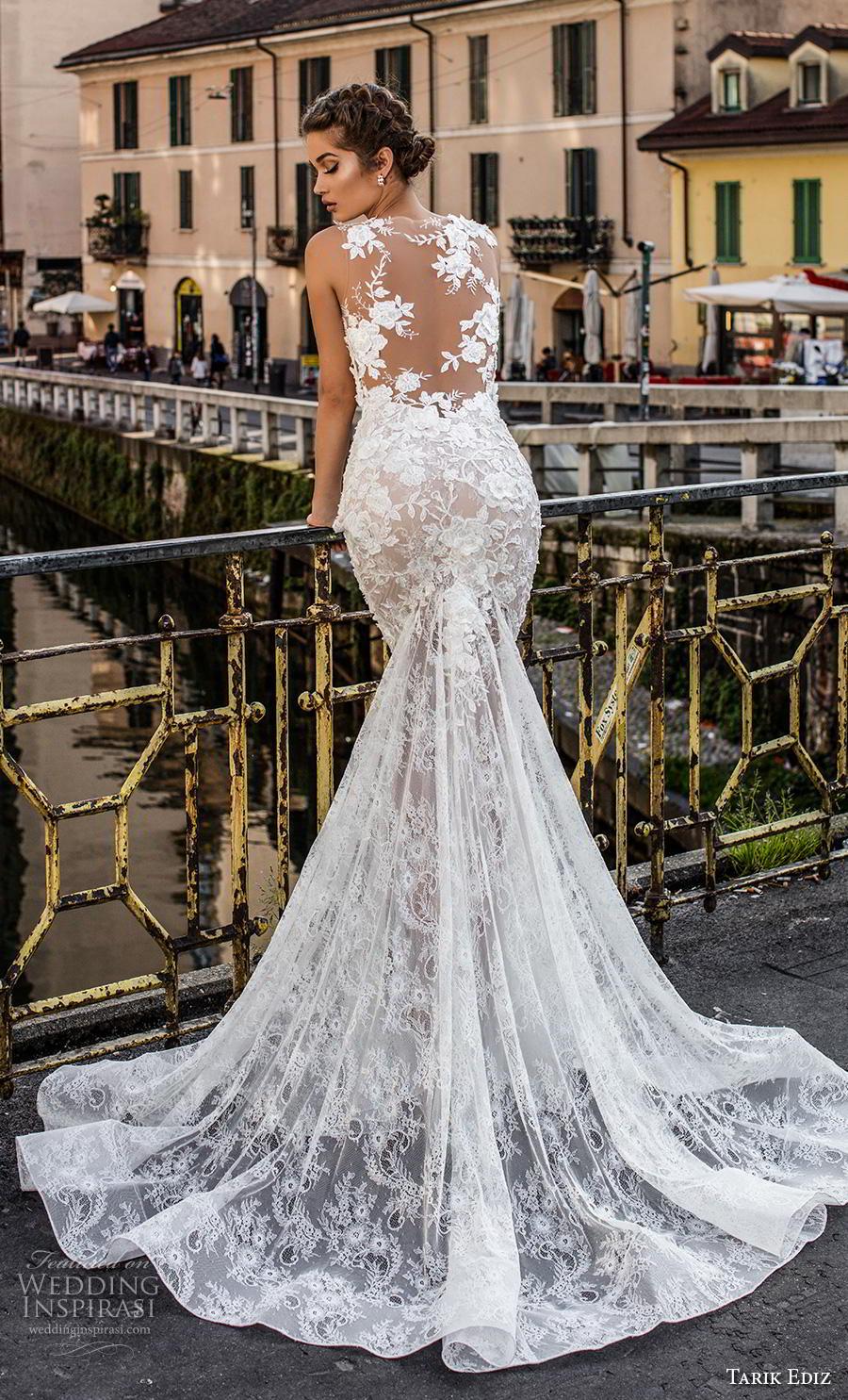 tarik ediz 2019 bridal sleeveless bateau neckline minimalist bodice elegant fit and flare wedding dress sheer lace back chapel train (16) bv