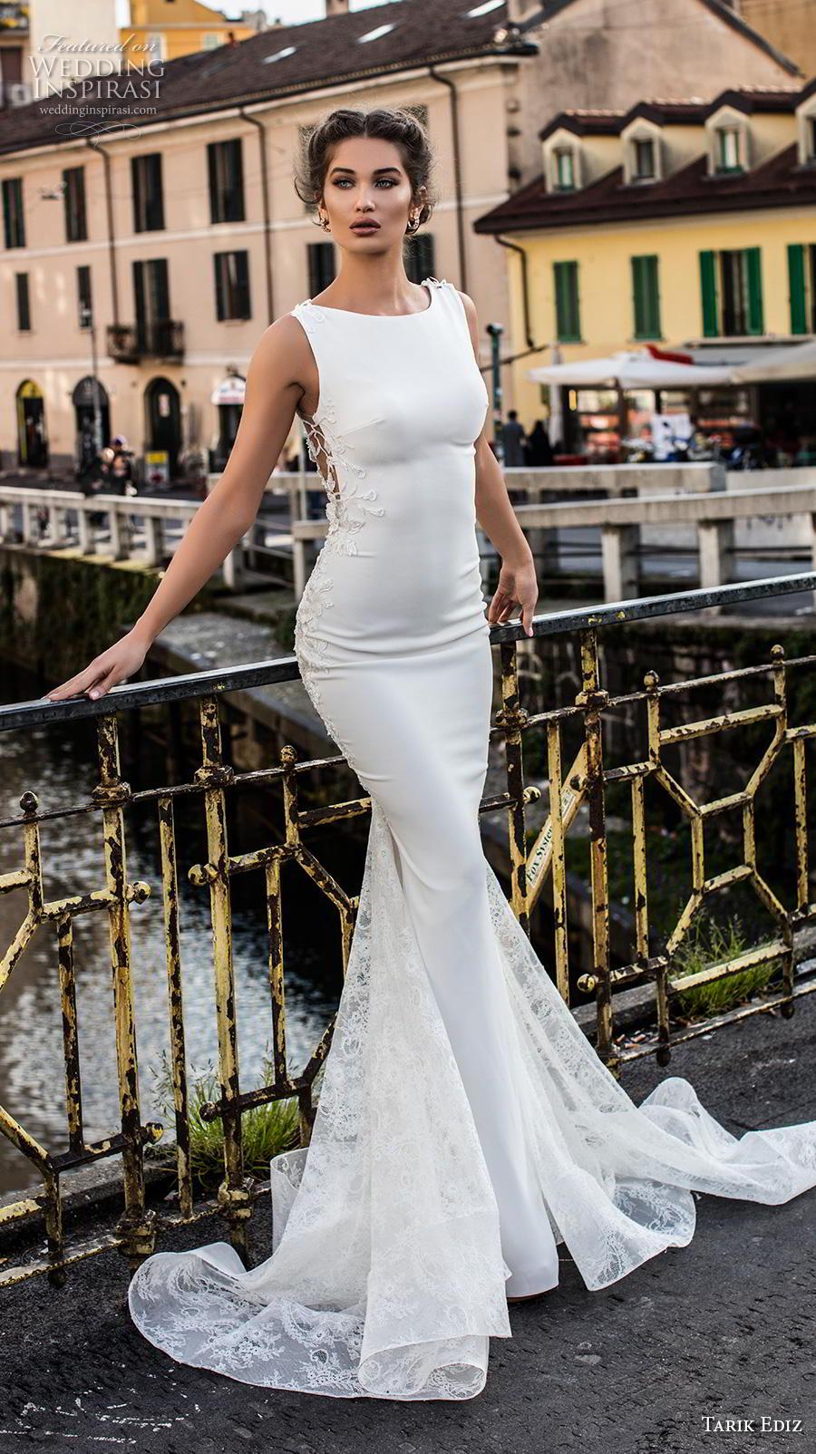 tarik ediz 2019 bridal sleeveless bateau neckline minimalist bodice elegant fit and flare wedding dress sheer lace back chapel train (16) mv