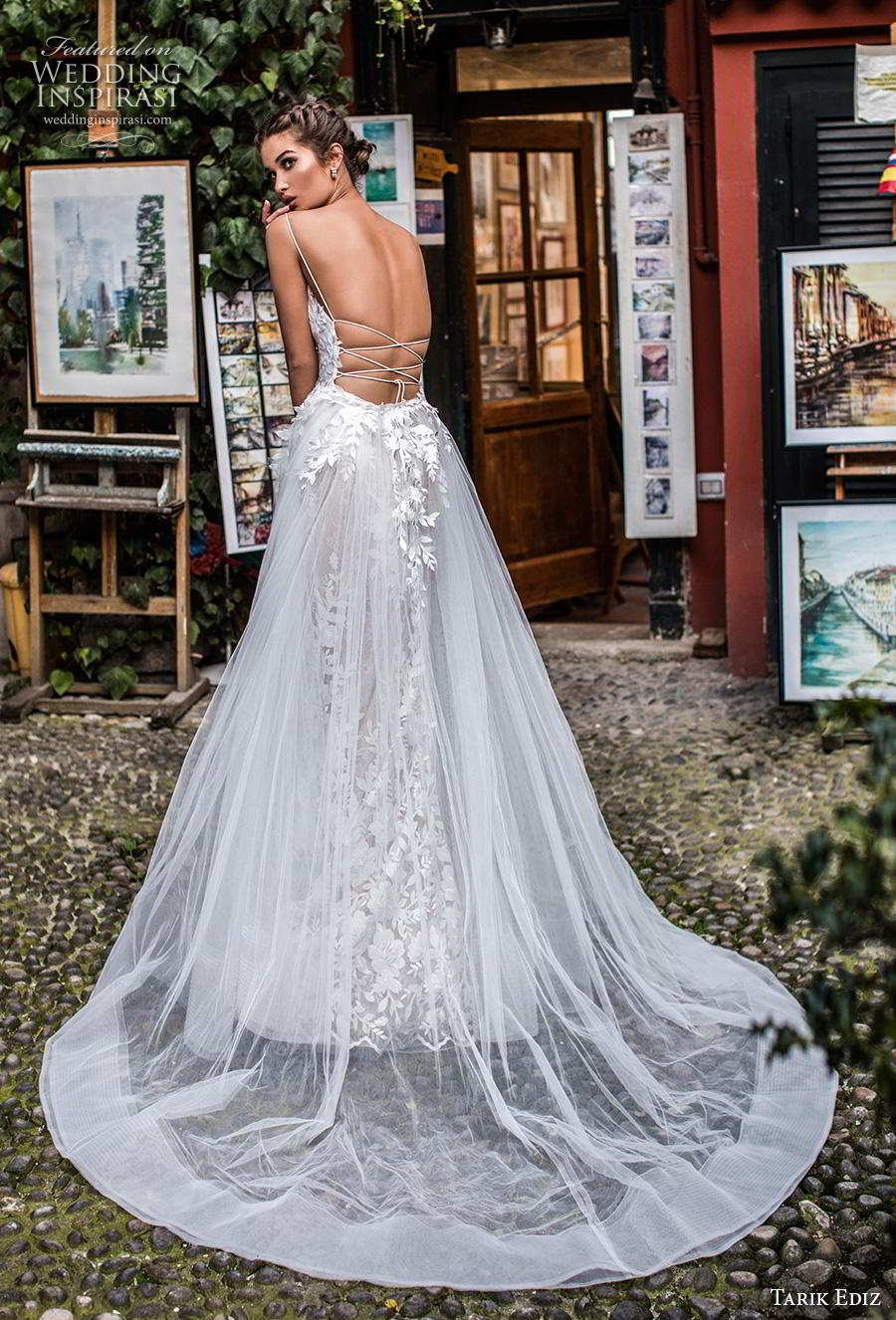 tarik ediz 2019 bridal sleeveless spaghetti strap deep diamond neckline full embellishment romantic fit and flare wedding dress a  line overskirt backless strap back chapel train (13) bv