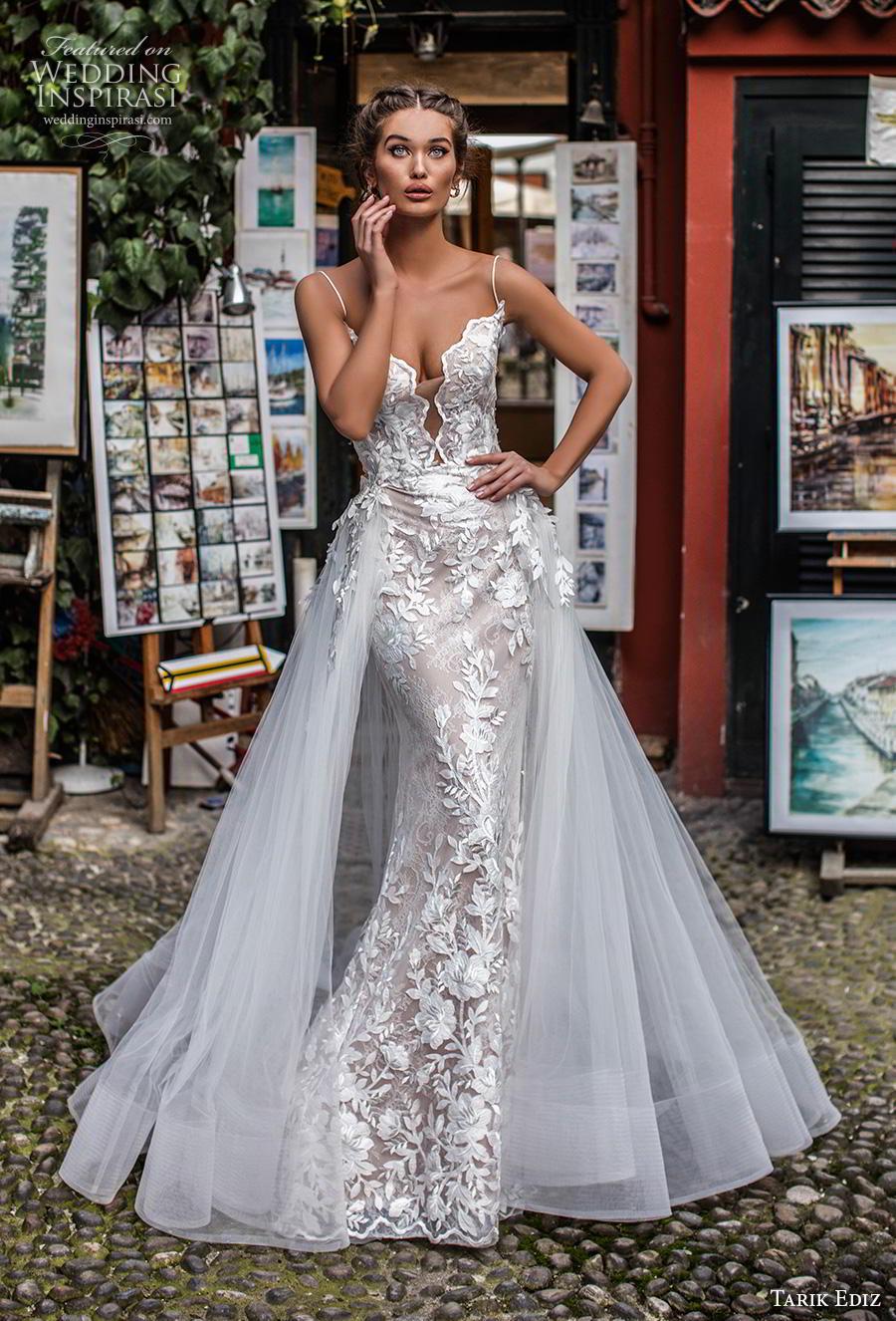 tarik ediz 2019 bridal sleeveless spaghetti strap deep diamond neckline full embellishment romantic fit and flare wedding dress a  line overskirt backless strap back chapel train (13) mv