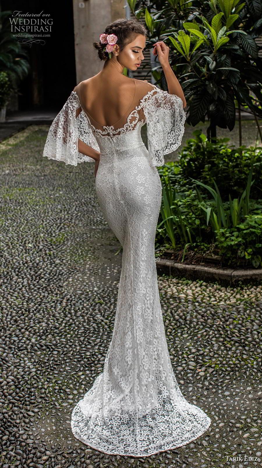 tarik ediz 2019 bridal three quarter bell sleeves sheer boat sweetheart neckline full embellishment romantic sheath wedding dress mid back sweep train (19) bv