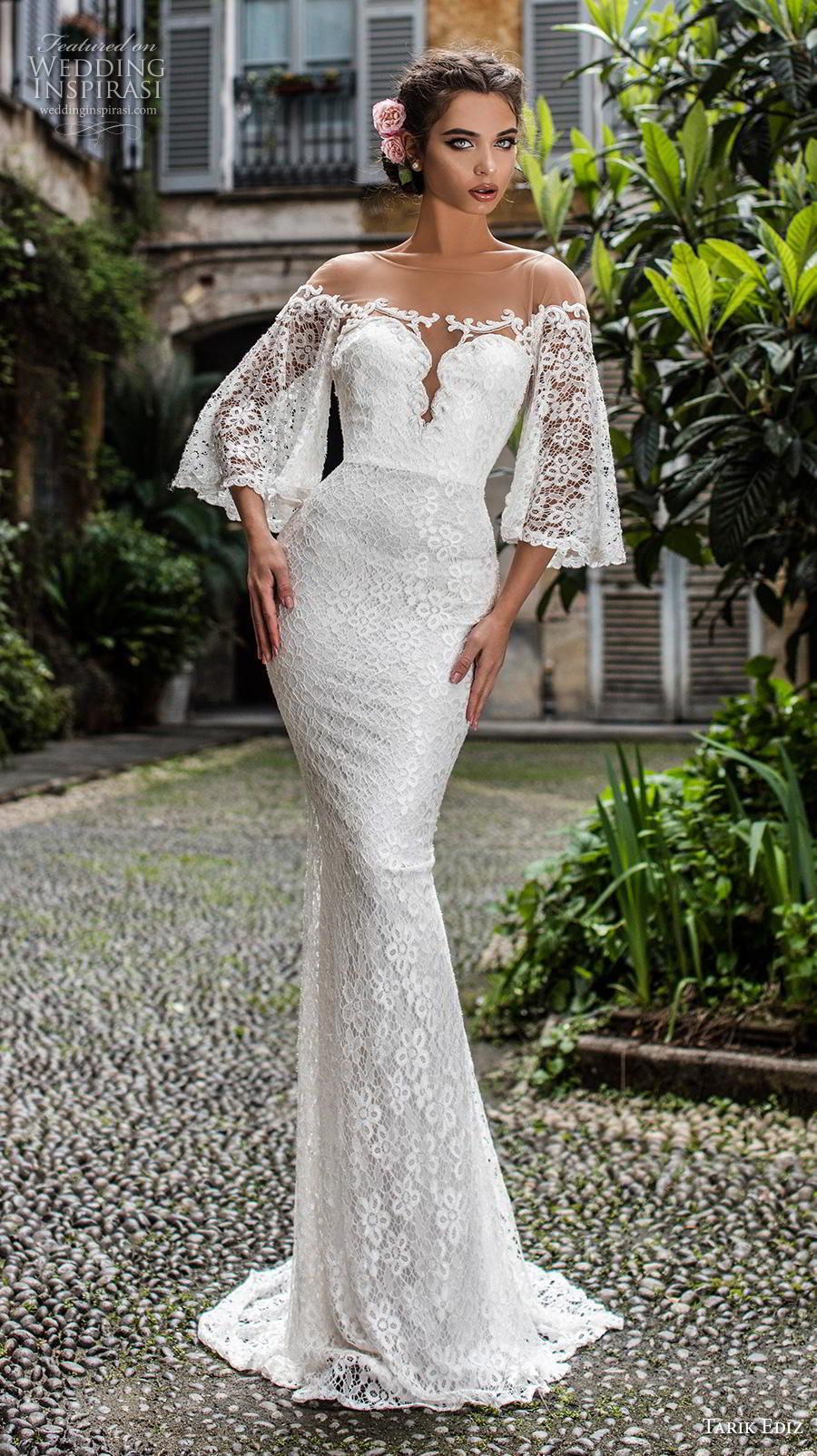 tarik ediz 2019 bridal three quarter bell sleeves sheer boat sweetheart neckline full embellishment romantic sheath wedding dress mid back sweep train (19) mv