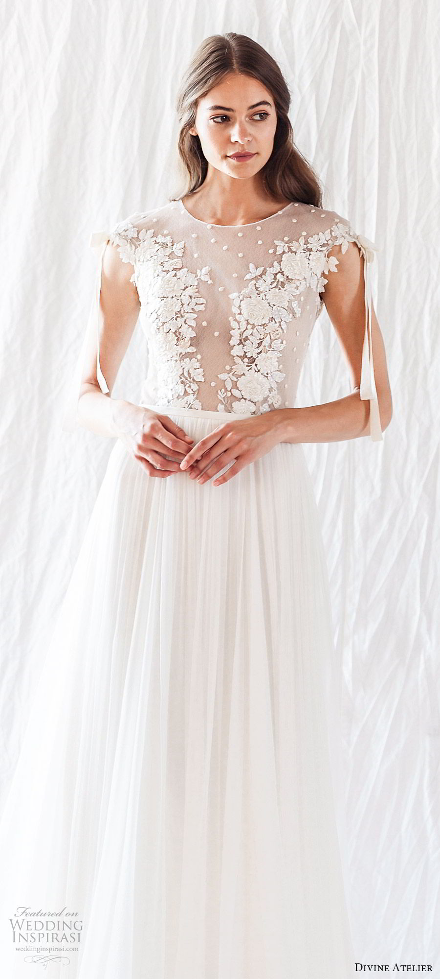 divine atelier 2019 bridal cap sleeves illusion jewel neck sheer lace bodice soft a line wedding dress (17) romantic elegant whimsical mv