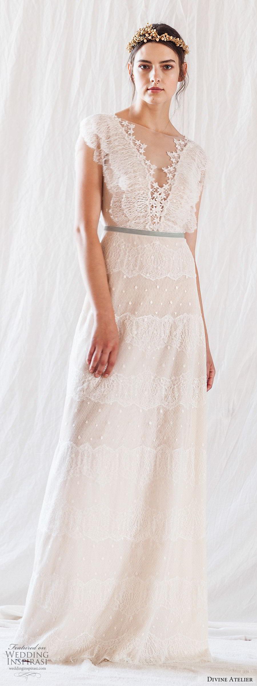 e1b6658a0cf6 divine atelier 2019 bridal cap sleeves sheer bateau deep v neckline lace a  line wedding dress