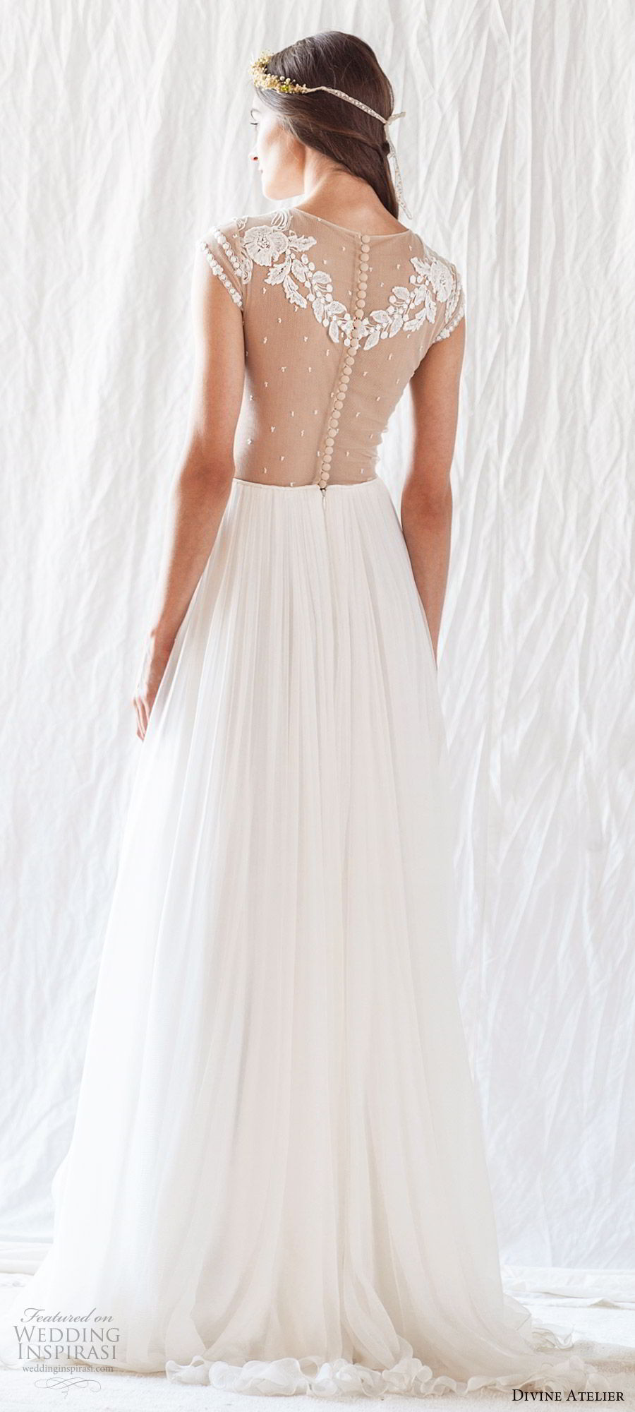 divine atelier 2019 bridal illusion cap sleeves jewel neck embroidered bodice soft a line wedding dress (15) sheer back sweep train romantic whimsical bv