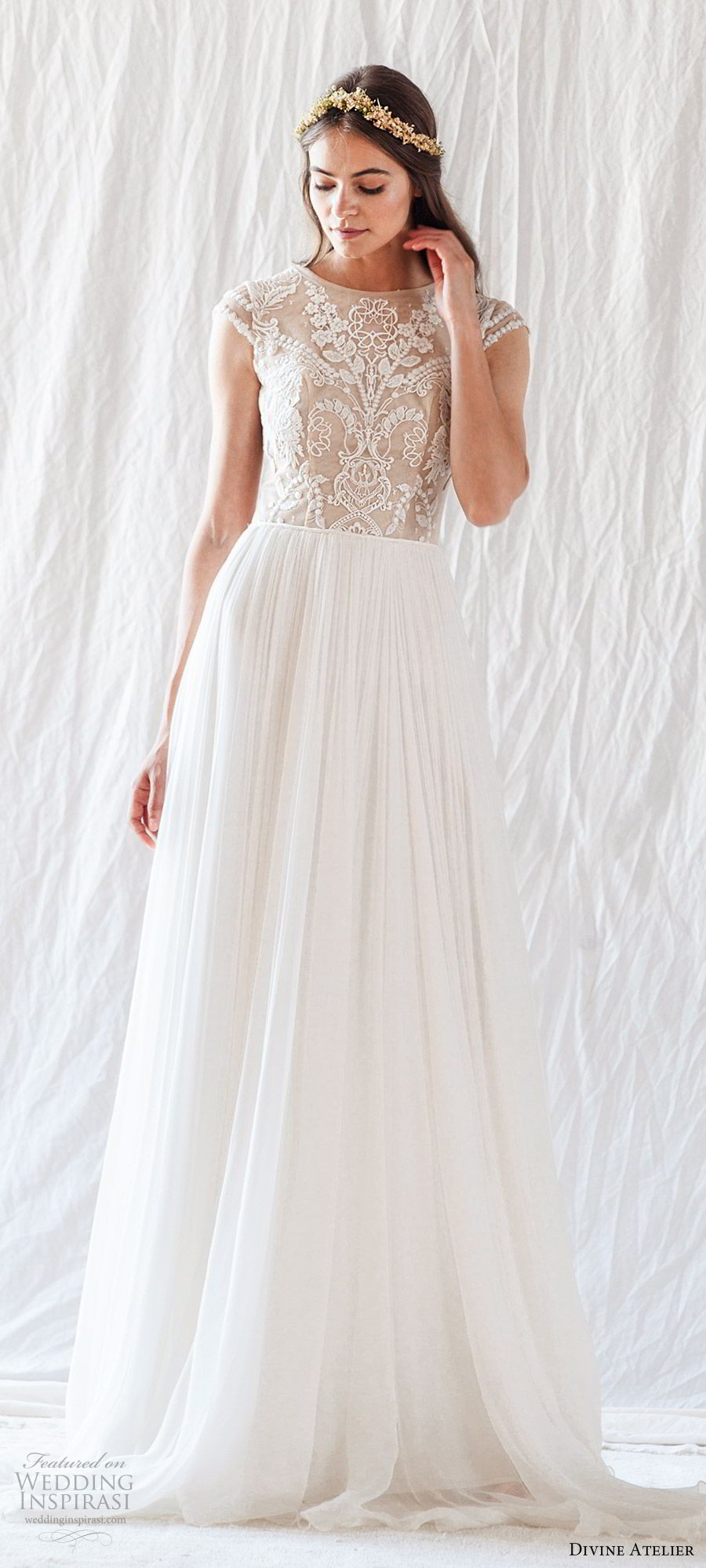 divine atelier 2019 bridal illusion cap sleeves jewel neck embroidered bodice soft a line wedding dress (15) sheer back sweep train romantic whimsical  mv