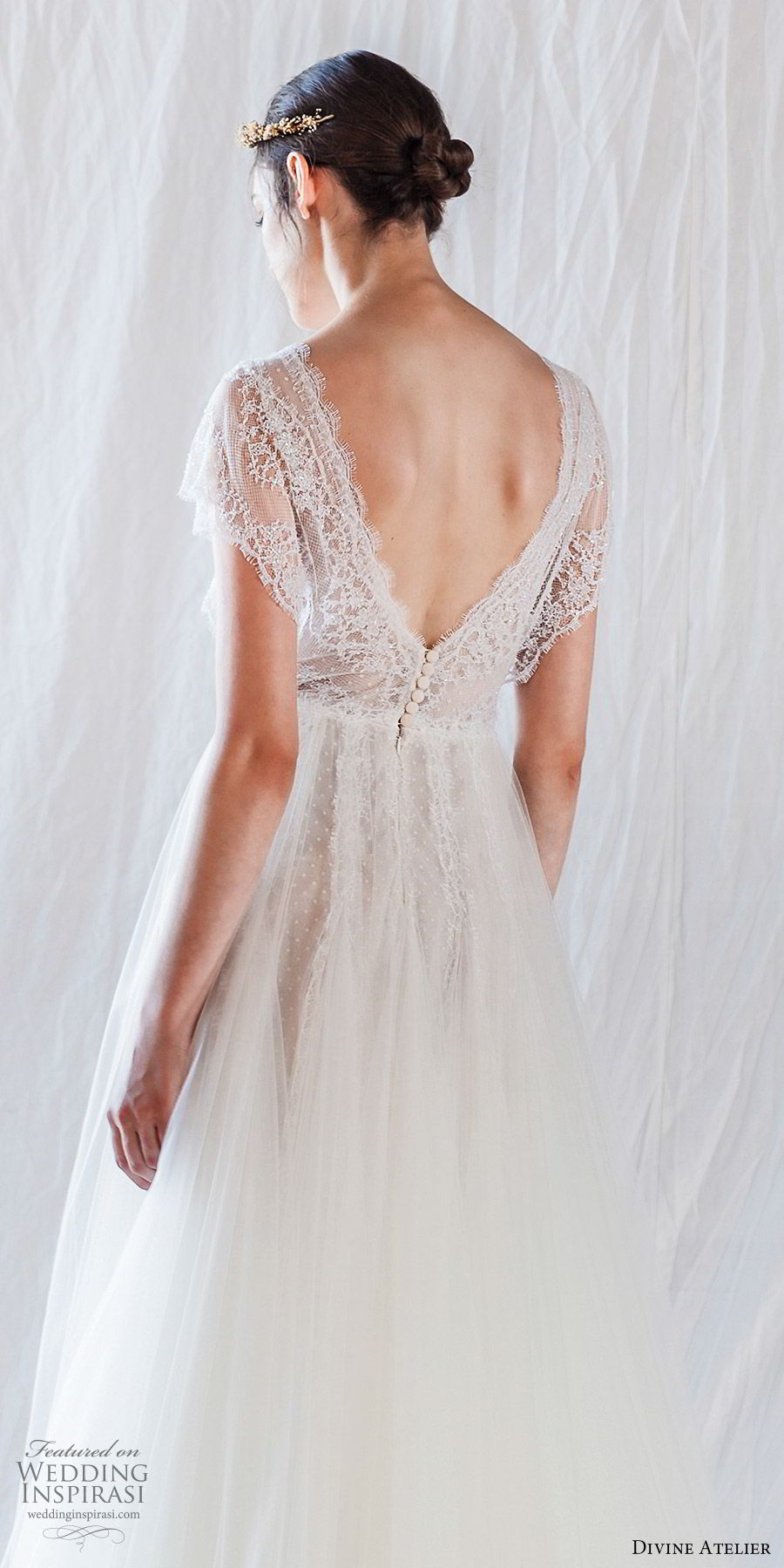 divine atelier 2019 bridal illusion cap sleeves plunging v neck sheer bodice lace a line wedding dress (7) vback sweep train romantic whimsical bv