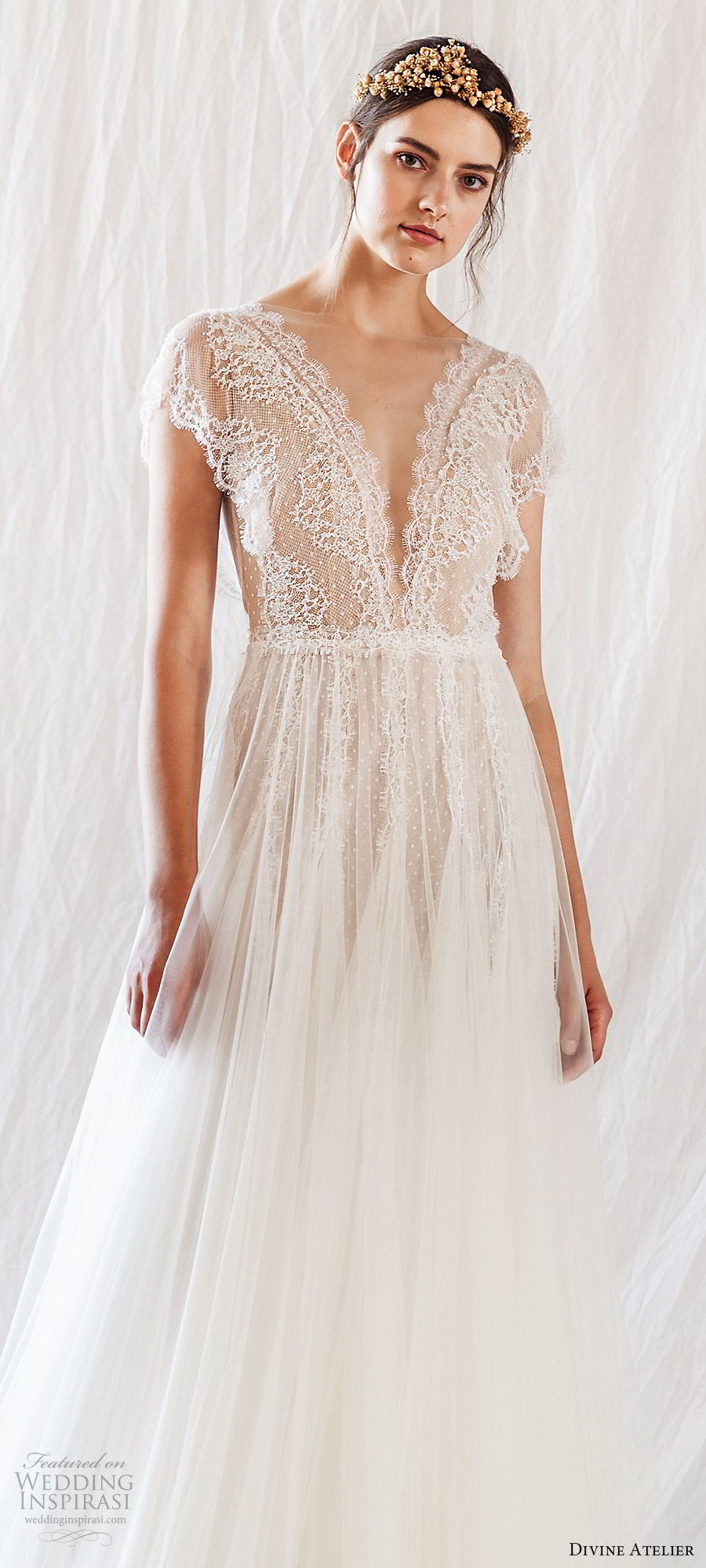 divine atelier 2019 bridal illusion cap sleeves plunging v neck sheer bodice lace a line wedding dress (7) vback sweep train romantic whimsical mv