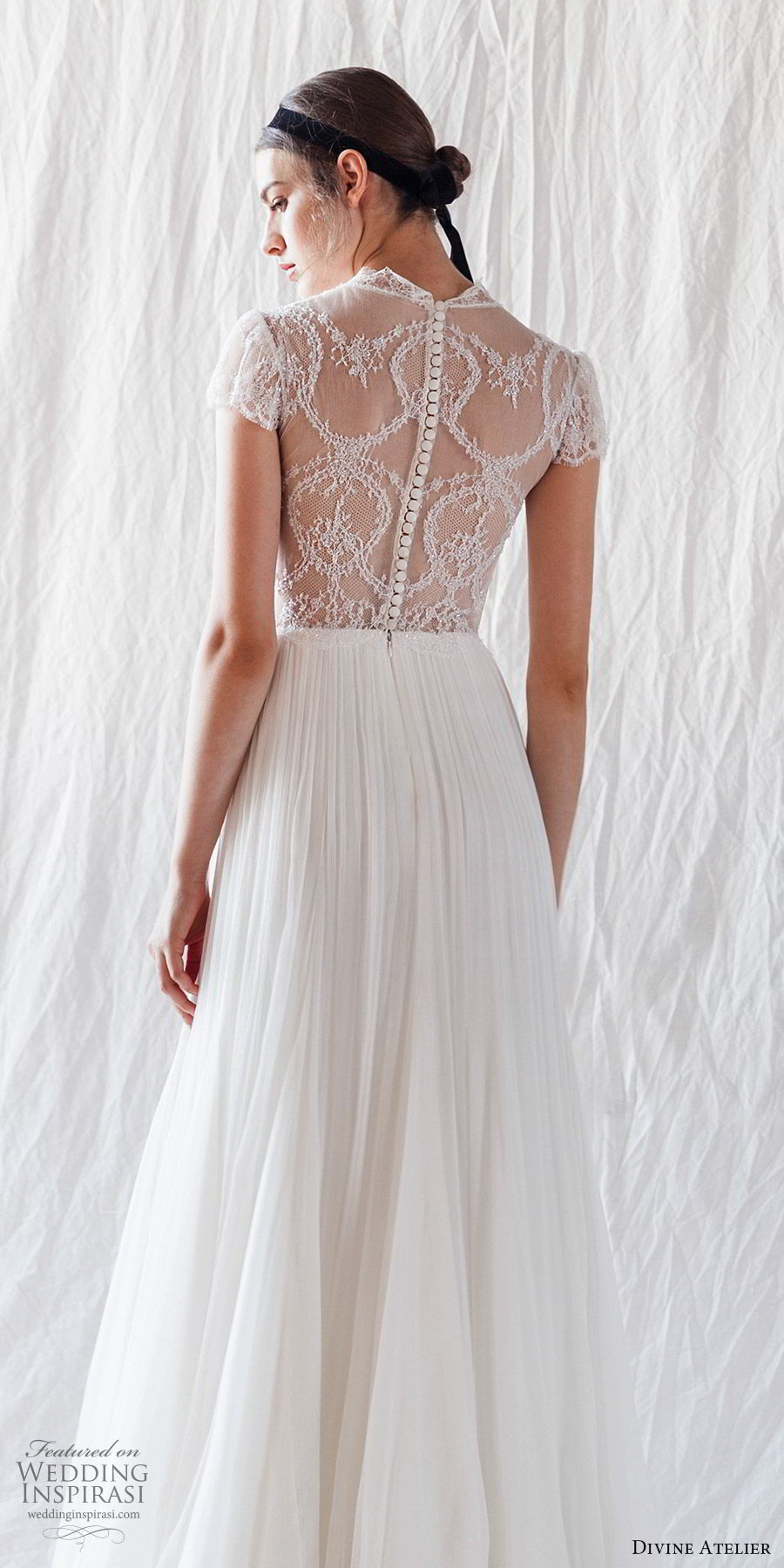 divine atelier 2019 bridal illusion cap sleeves sheer high neckline corset lace bodice a line wedding dress (6) sheer back boho romantic bv