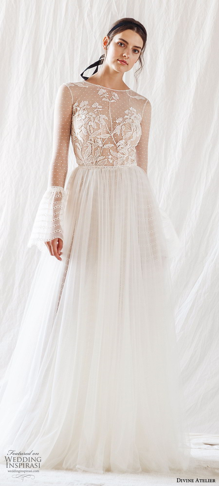 divine atelier 2019 bridal illusion long bell sleeves jewel neck sheer embellished bodice a line ball gown wedding dress (1) sweep train romantic elegant mv