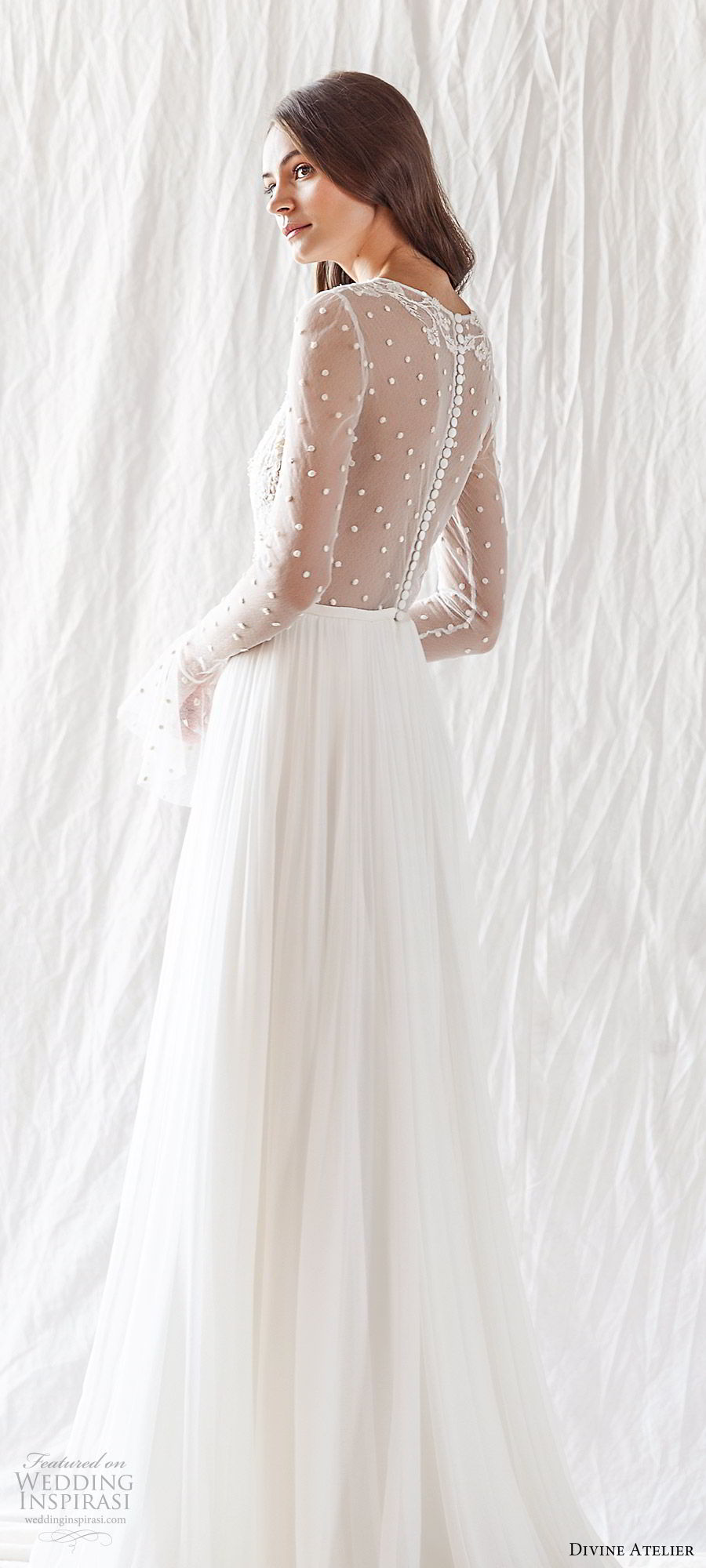 divine atelier 2019 bridal illusion long bell sleeves jewel neckline sheer lace bodice soft a line wedding dress (11) sheer back chapel train romantic boho chic bv