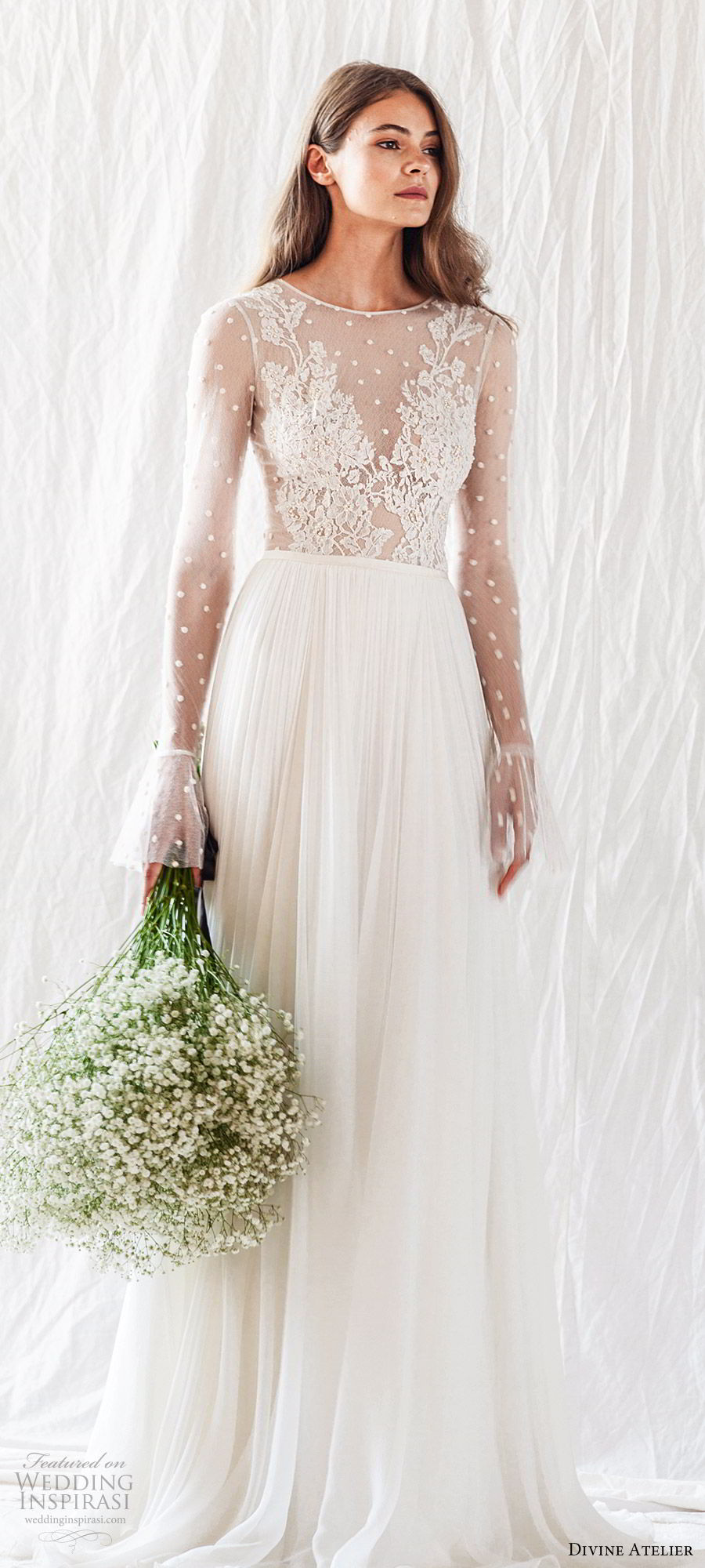 divine atelier 2019 bridal illusion long bell sleeves jewel neckline sheer lace bodice soft a line wedding dress (11) sheer back chapel train romantic boho chic mv