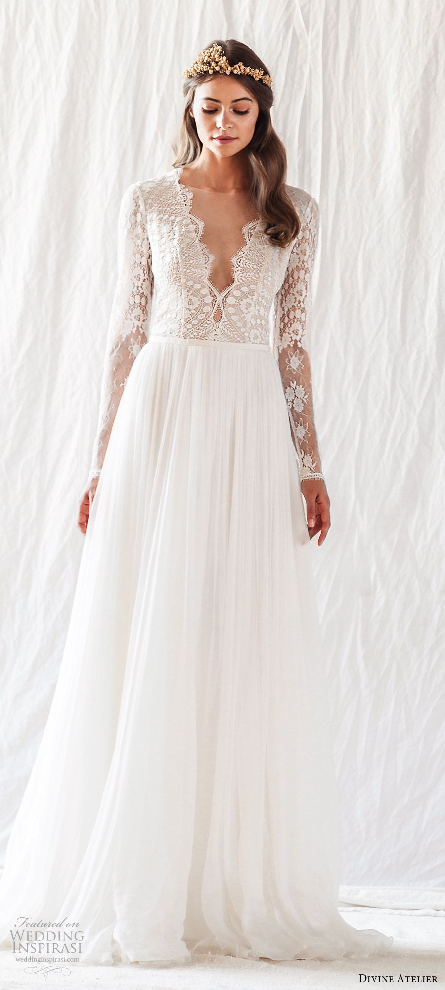 divine atelier 2019 bridal illusion long sleeves plunging v neckline lace bodice wedding dress (14) sweep train cutout back romantic princess mv