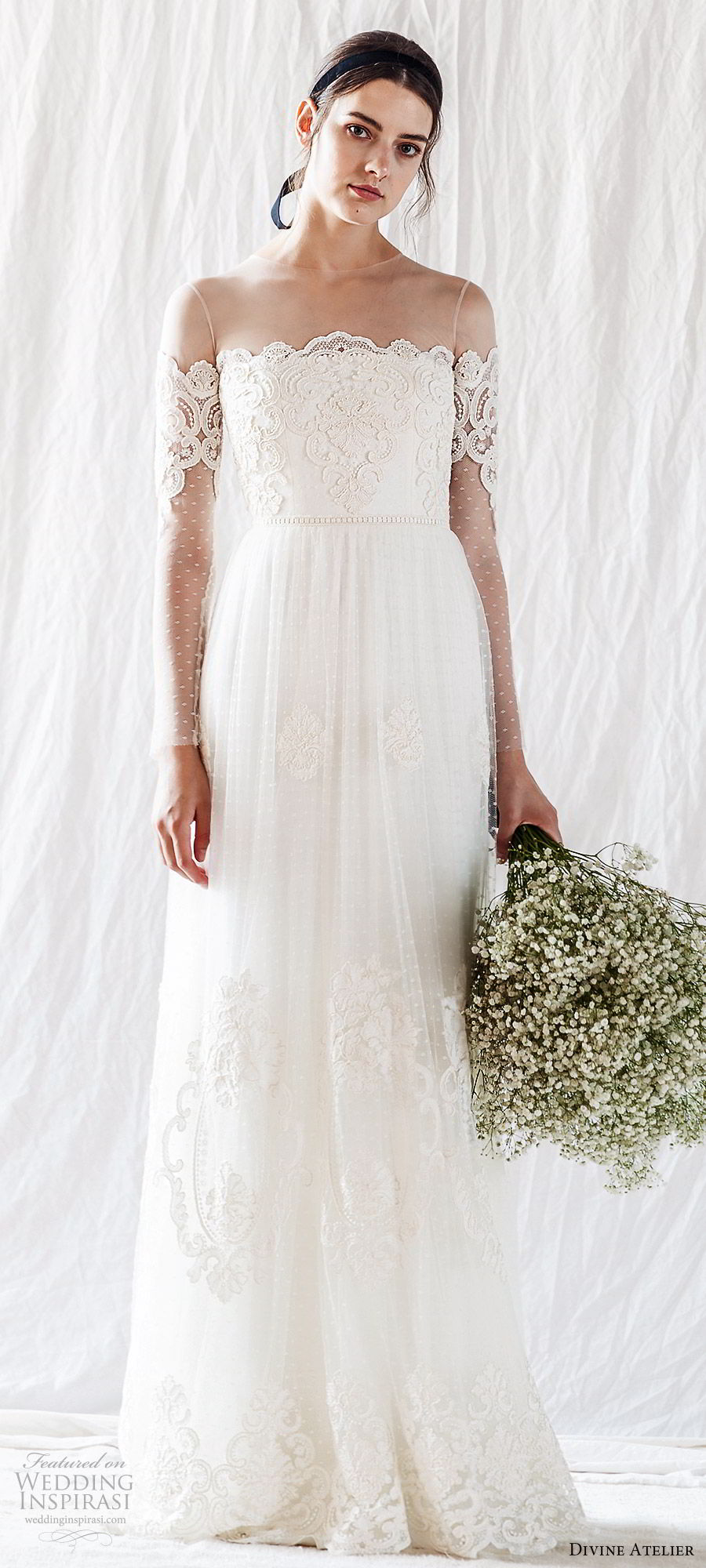 divine atelier 2019 bridal illusion long sleeves sheer crew neck straight across embellished bodice lace a line wedding dress (9) sheer back romantic whimsical mv