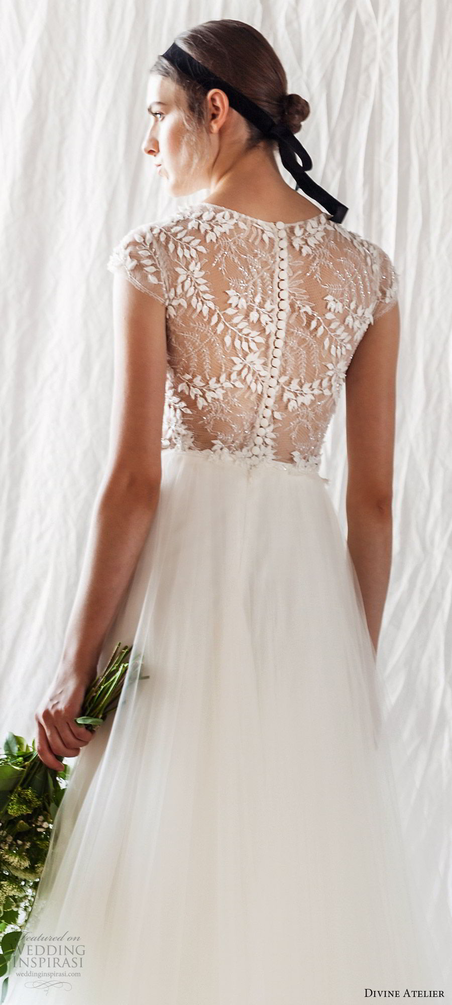 divine atelier 2019 bridal sheer cap sleeves illusion jewel neck embellished corset bodice soft a line wedding dress (8) sheer back sweep train romantic boho chic bv