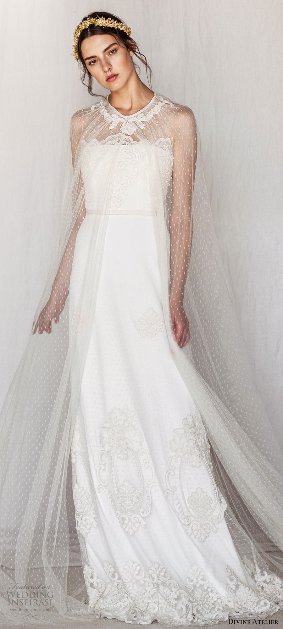 divine atelier 2019 bridal sleeveless illusion jewel straight across lace a line wedding dress sheer cape (13) sweep train romantic whimsical mv