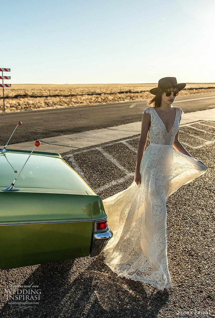 flora bridal 2019 bridal cap sleeves deepv neck full embellishment romantic soft a  line wedding dress backless v back sweep train (6) mv