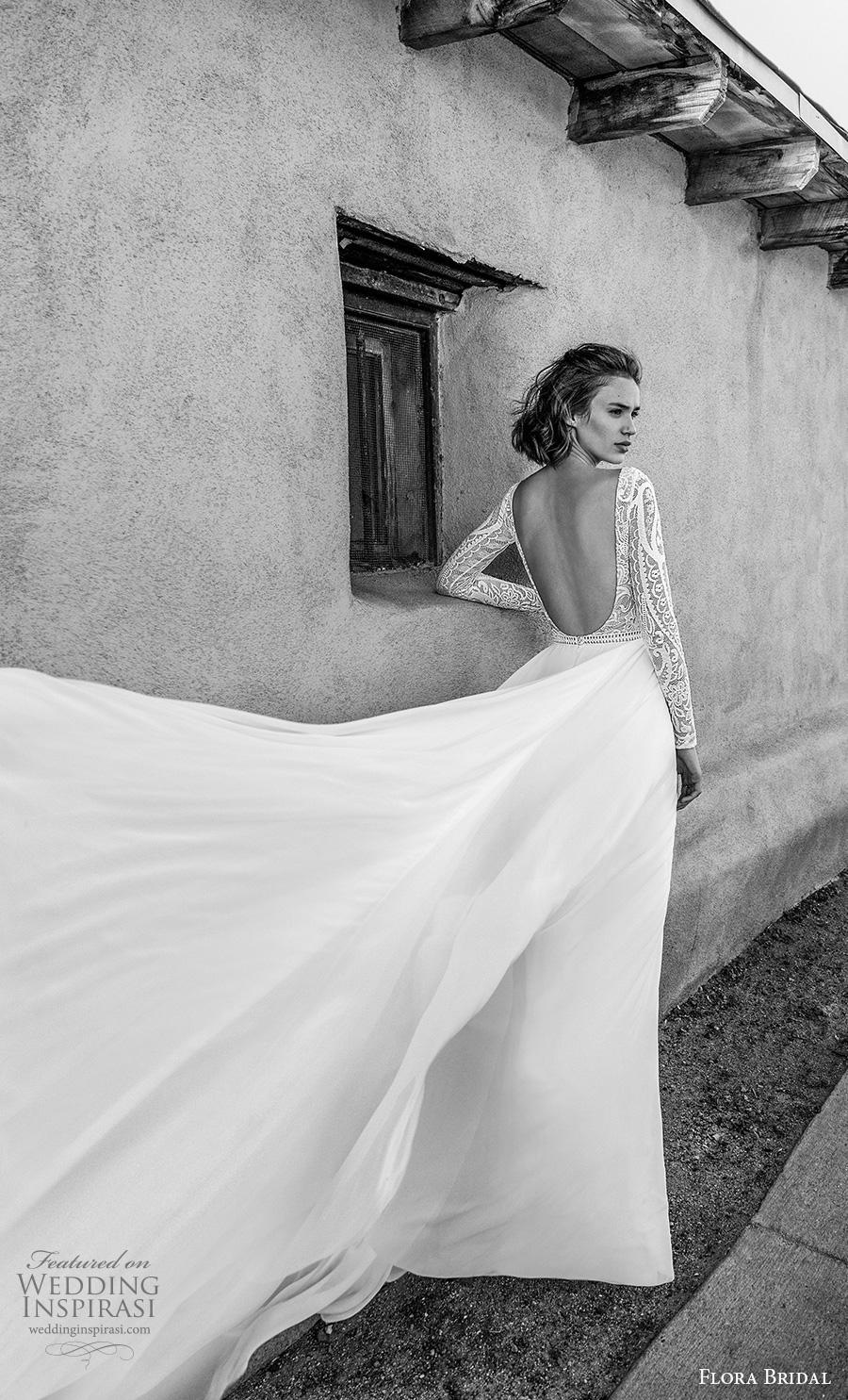 flora bridal 2019 bridal long sleeves bateau neckline heavily embellished bodice romantic soft a  line wedding dress backless scoop back chapel train (4) bv