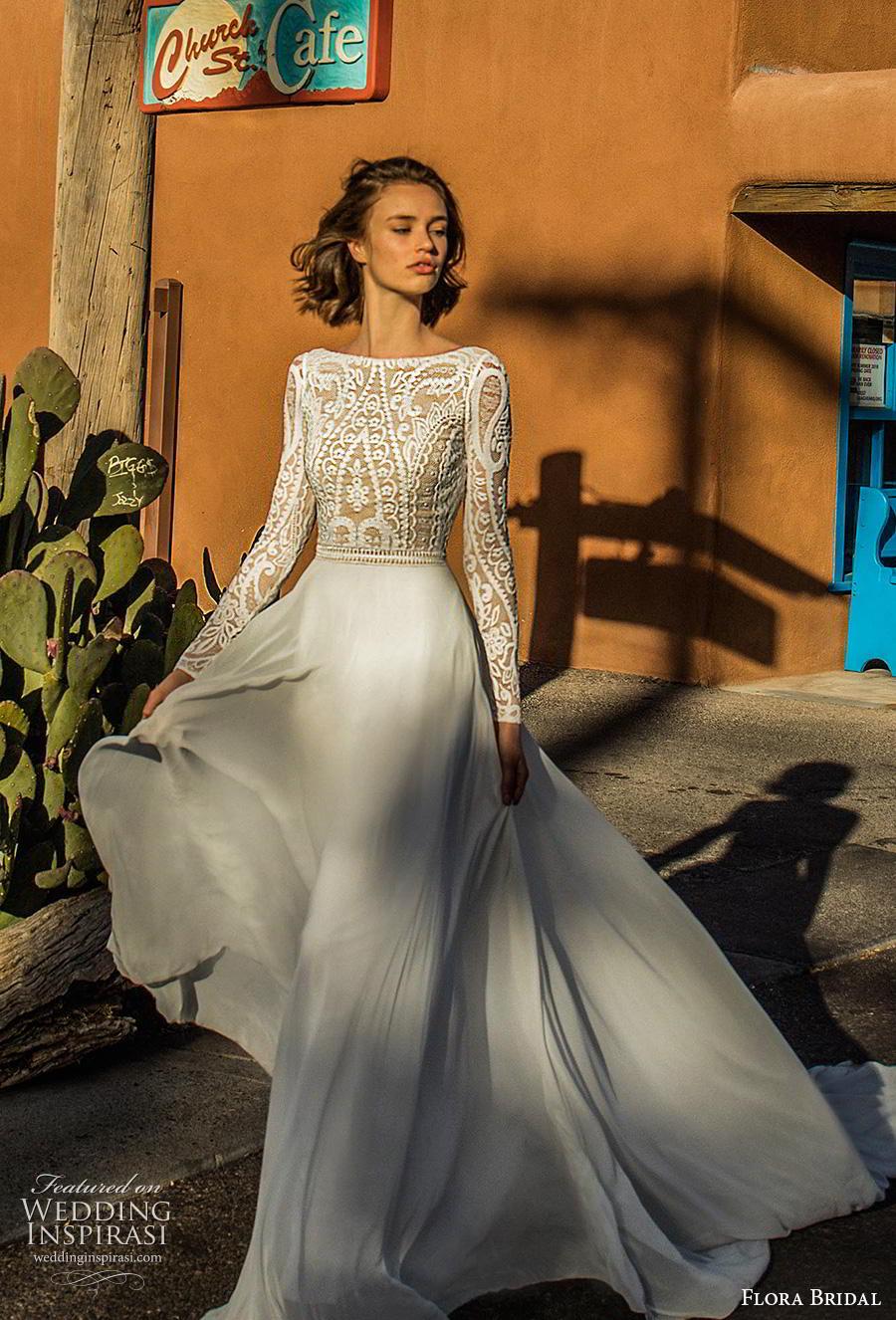 flora bridal 2019 bridal long sleeves bateau neckline heavily embellished bodice romantic soft a  line wedding dress backless scoop back chapel train (4) mv