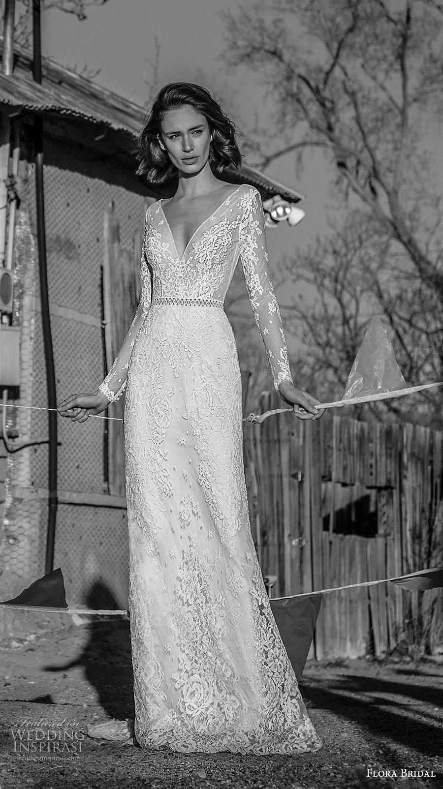 flora bridal 2019 bridal long sleeves deep v neck full embellishment elegant sheath wedding dress v back sweep train (16) mv