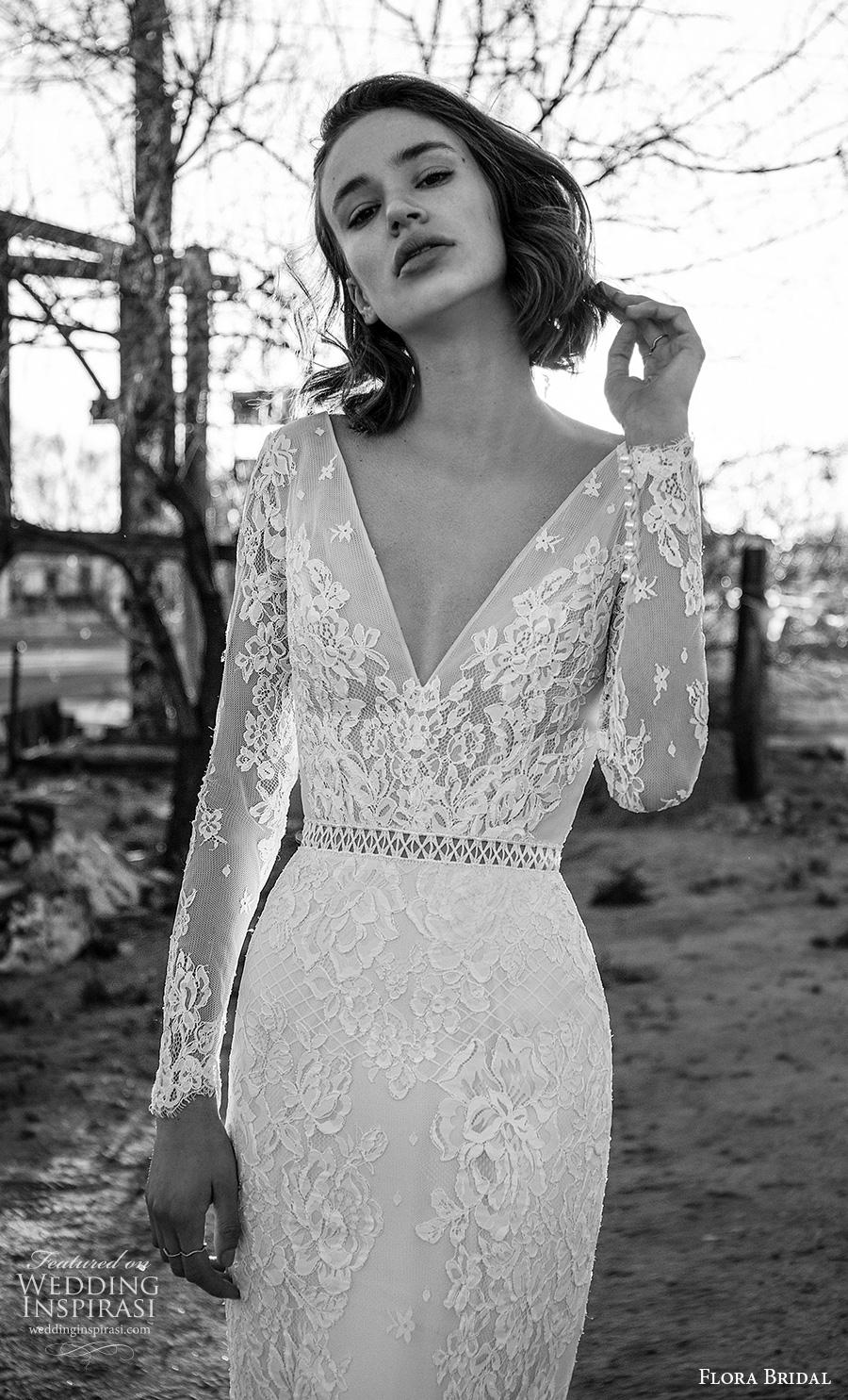 flora bridal 2019 bridal long sleeves deep v neck full embellishment elegant sheath wedding dress v back sweep train (16) zv