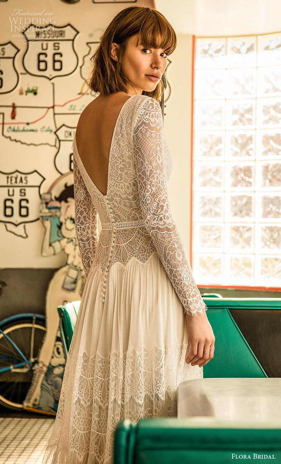 flora bridal 2019 bridal long sleeves deep v neck full embellishment slit skirt romantic bohemian modified a  line wedding dress v back sweep train (3) bv