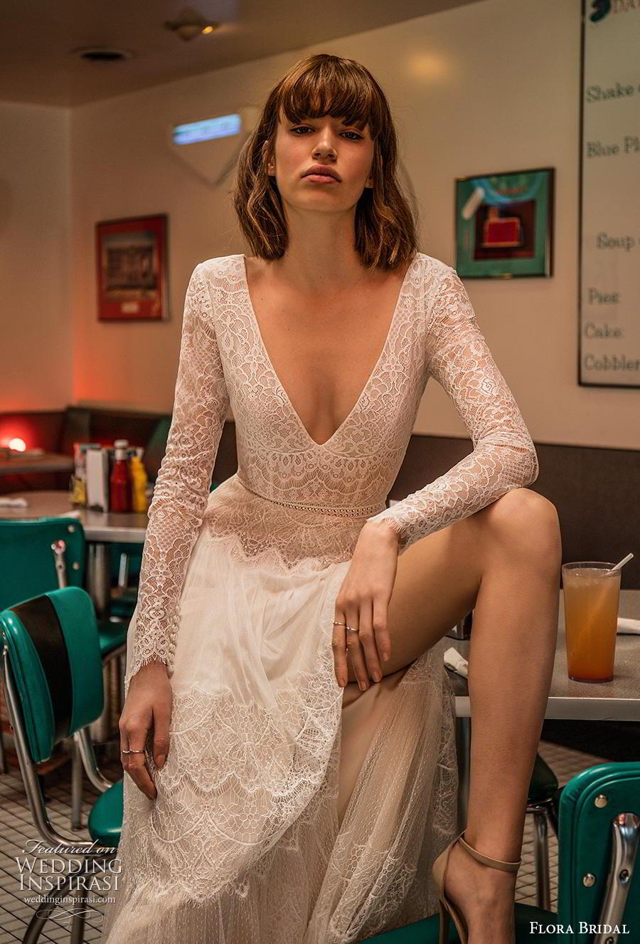 flora bridal 2019 bridal long sleeves deep v neck full embellishment slit skirt romantic bohemian modified a  line wedding dress v back sweep train (3) zv