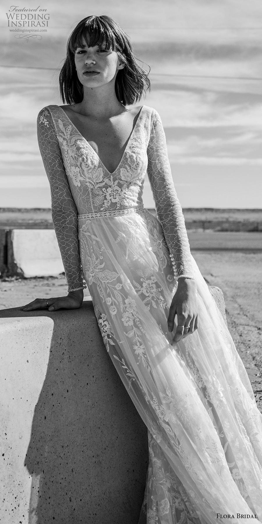 flora bridal 2019 bridal long sleeves v neck full embellishment elegant bohemian romantic soft a  line wedding dress v back chapel train (13) lv
