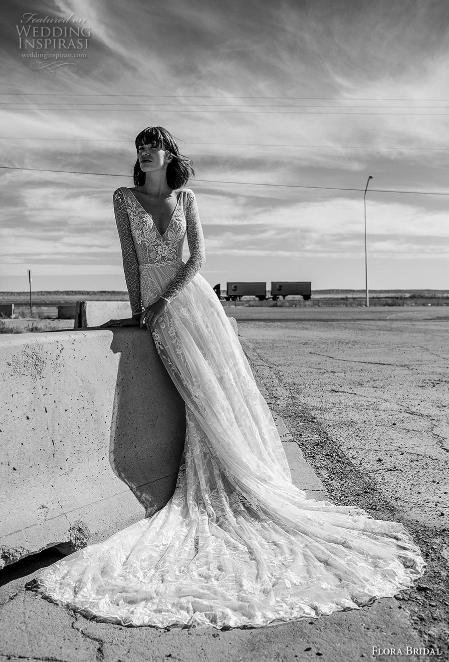 flora bridal 2019 bridal long sleeves v neck full embellishment elegant bohemian romantic soft a  line wedding dress v back chapel train (13) mv