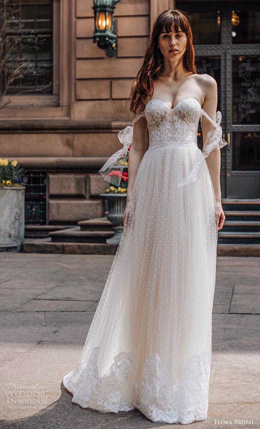 flora bridal 2019 bridal off the shoulder sweetheart neckline heavily embellished bodice romantic soft a  line wedding dress mid back chapel train (9) mv
