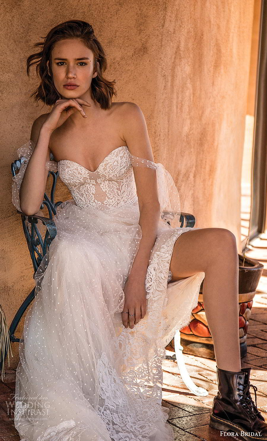flora bridal 2019 bridal off the shoulder sweetheart neckline heavily embellished bodice romantic soft a  line wedding dress mid back chapel train (9) zv
