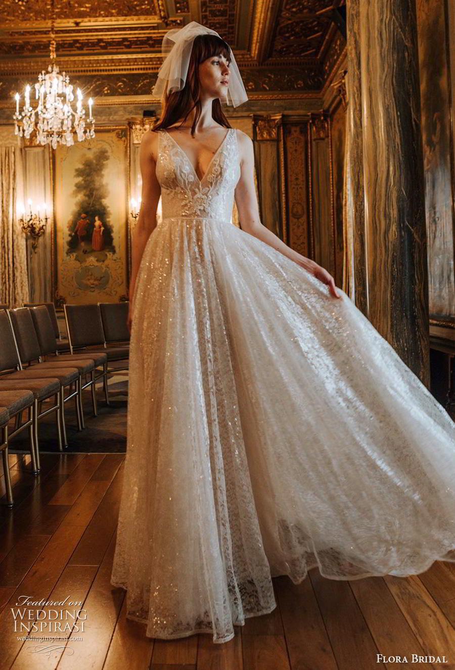 flora bridal 2019 bridal sleeveless deep v neck full embellishment glitter glamorous a  line wedding dress chapel train (7) mv