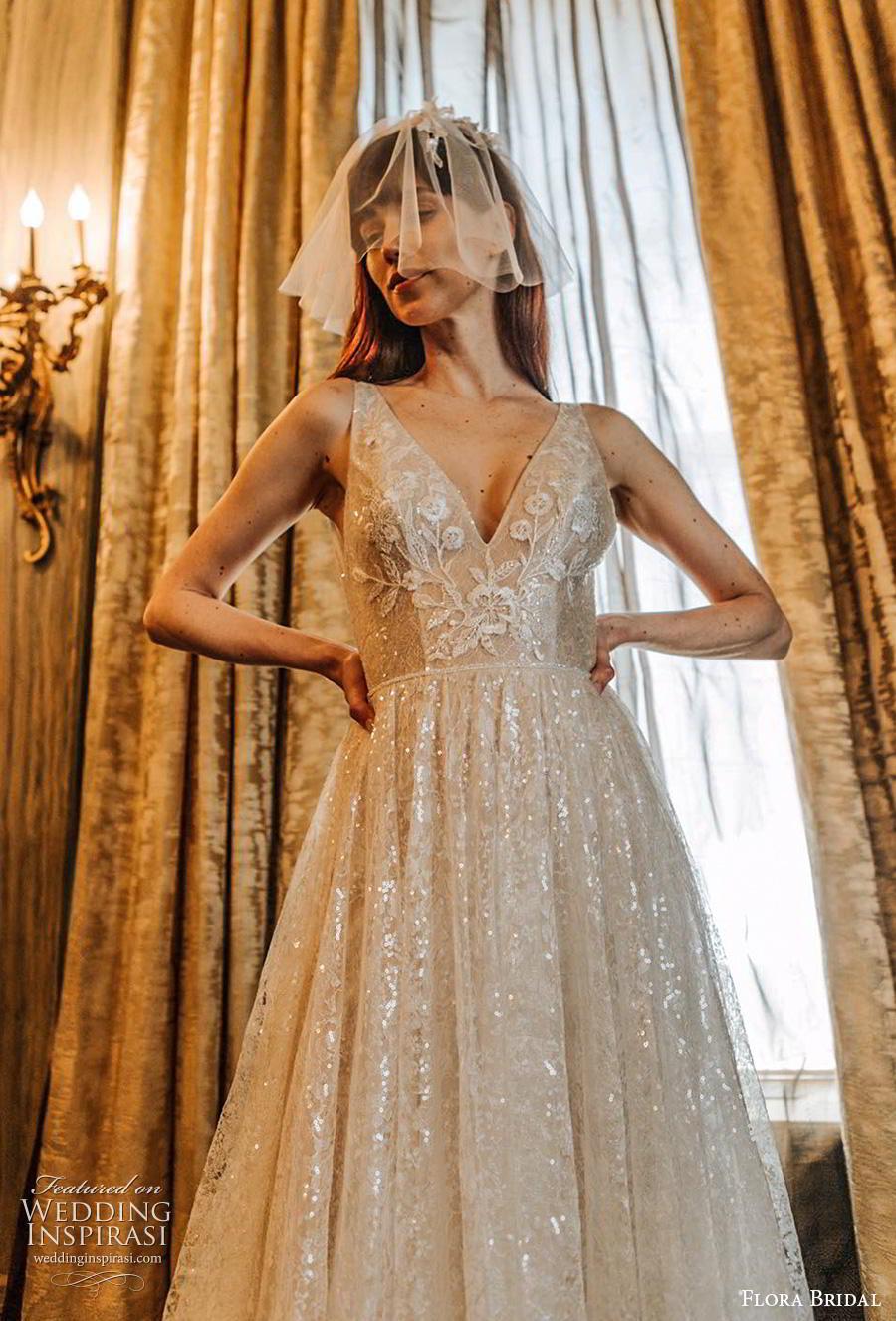 flora bridal 2019 bridal sleeveless deep v neck full embellishment glitter glamorous a  line wedding dress chapel train (7) zv