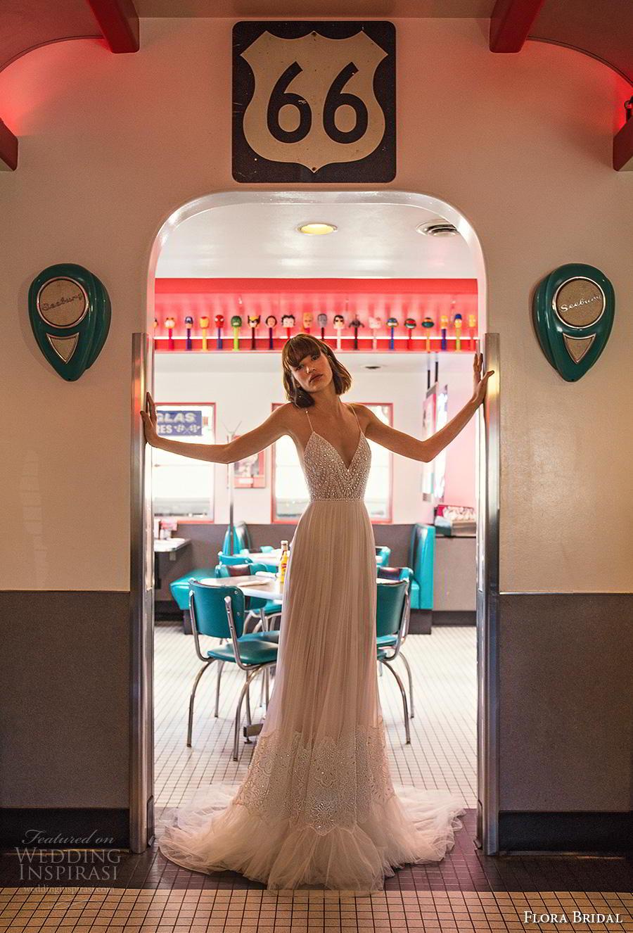 flora bridal 2019 bridal sleeveless spaghetti strap deep diamond neck heavily embellished bodice glitter sexy romantic soft a  line wedding dress backless low back medium train (12) mv