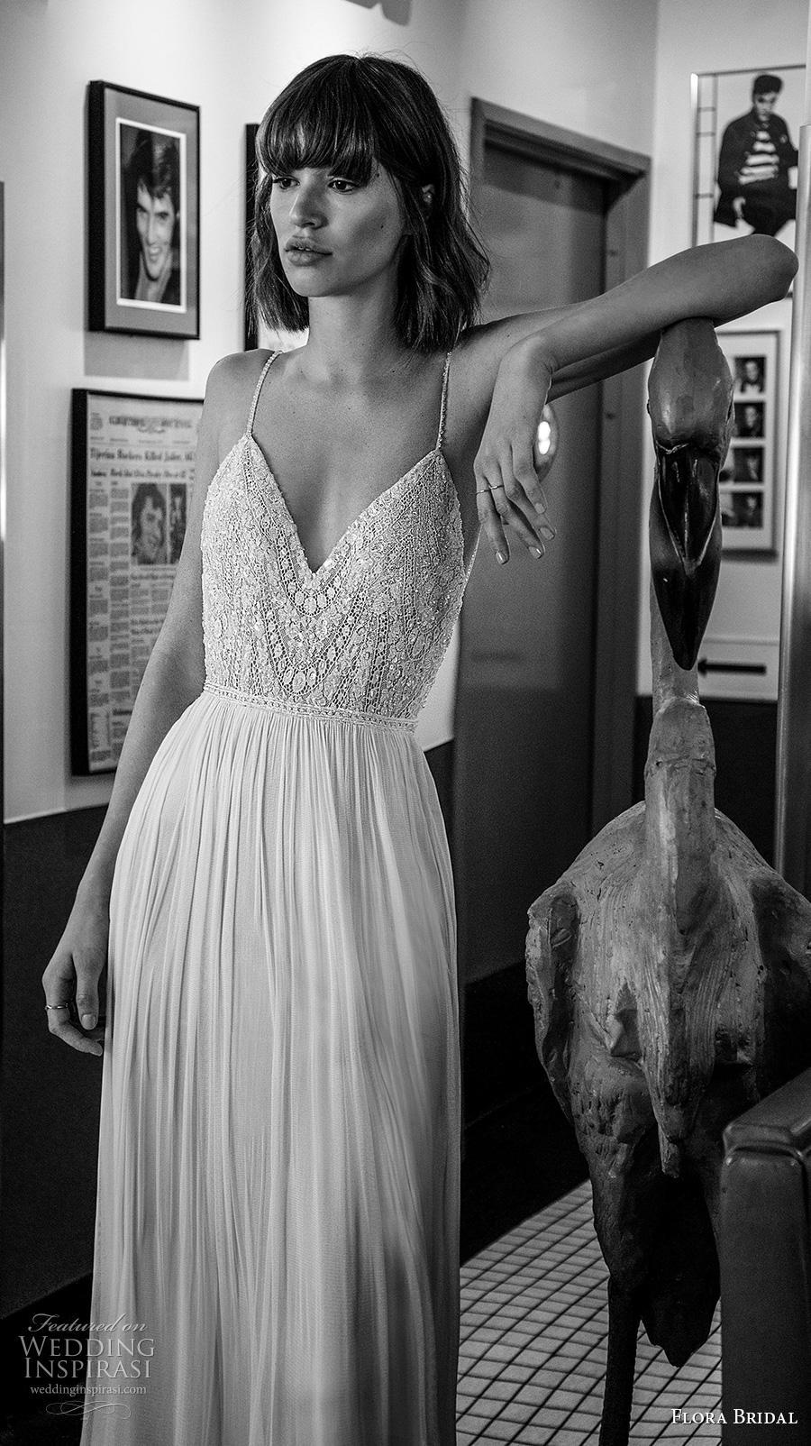 flora bridal 2019 bridal sleeveless spaghetti strap deep diamond neck heavily embellished bodice glitter sexy romantic soft a  line wedding dress backless low back medium train (12) zv