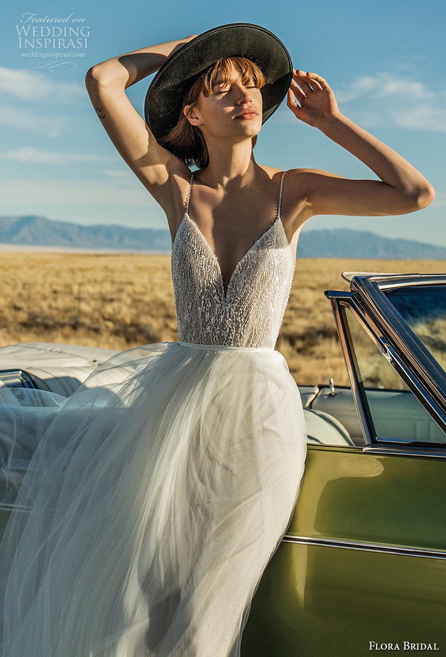 flora bridal 2019 bridal sleeveless spaghetti strap deep sweetheart neckline heavily embellished bodice tulle skirt romantic soft a  line wedding dress backless low back chapel train (15) zv